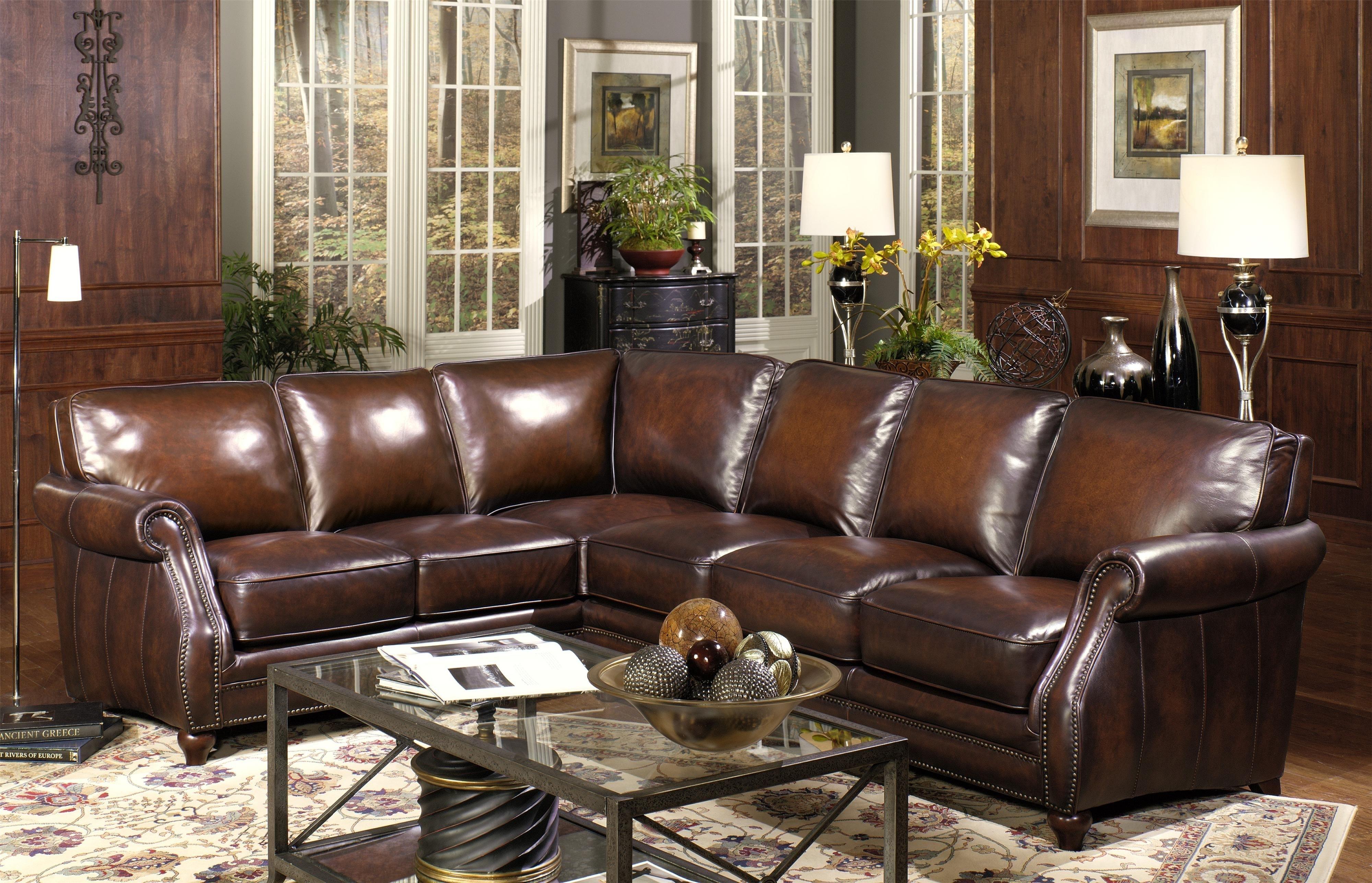 Traditional Two Piece Leather Sectional Sofa With Rolled Arms And throughout Burton Leather 3 Piece Sectionals (Image 30 of 30)