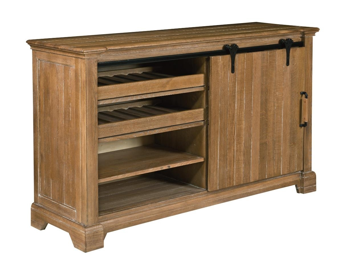 Transitional Rustic Sliding Barn Door Buffet With Wine Storage with Brown Wood 72 Inch Sideboards (Image 29 of 30)
