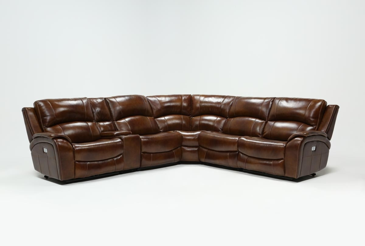 Featured Photo of Travis Cognac Leather 6 Piece Power Reclining Sectionals With Power Headrest & Usb