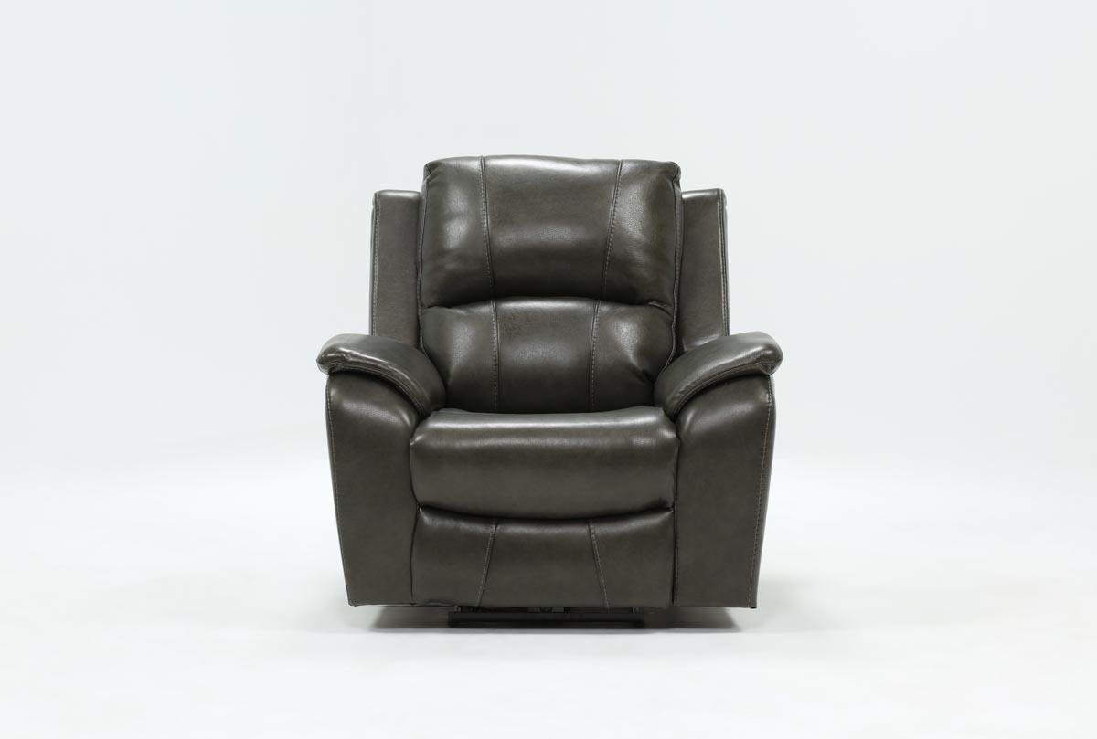 Travis Dark Grey Leather Power Recliner W/power Headrest And Usb inside Travis Dk Grey Leather 6 Piece Power Reclining Sectionals With Power Headrest & Usb (Image 26 of 30)