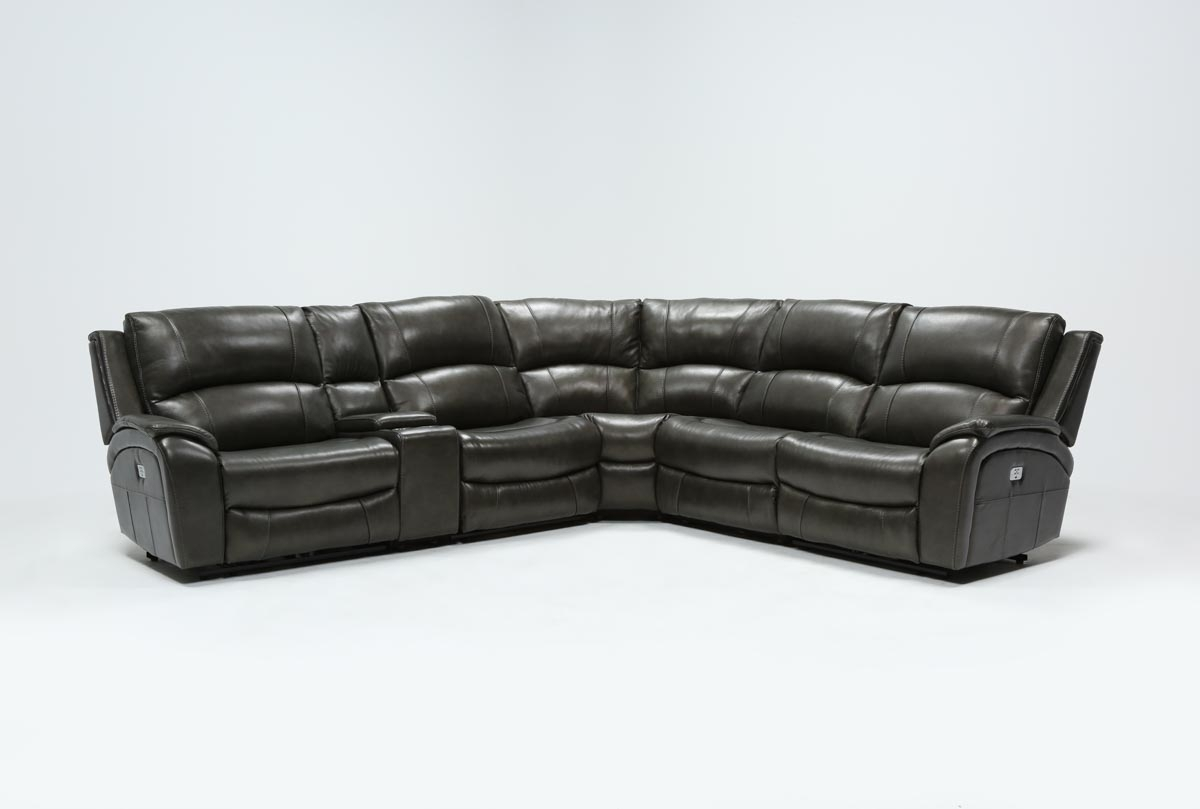Travis Dk Grey Leather 6 Piece Power Reclining Sectional W/pwr Hdrst regarding Travis Dk Grey Leather 6 Piece Power Reclining Sectionals With Power Headrest & Usb (Image 27 of 30)