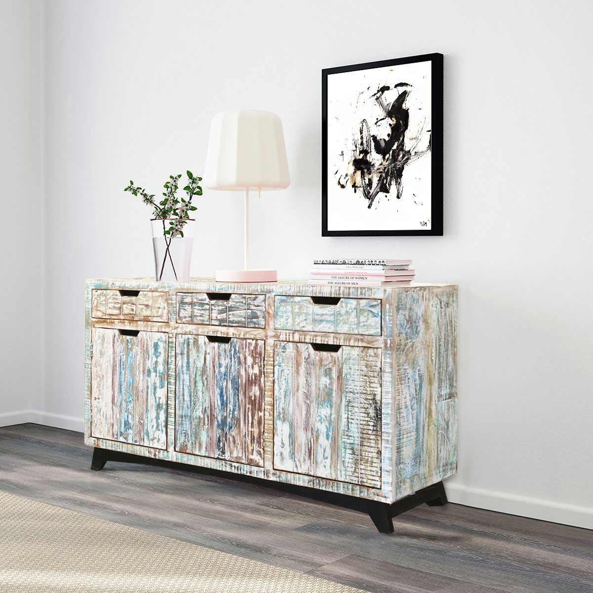 Tucson Handcrafted Reclaimed Wood 3 Drawer Sideboard Cabinet with White Wash 3-Door 3-Drawer Sideboards (Image 25 of 30)