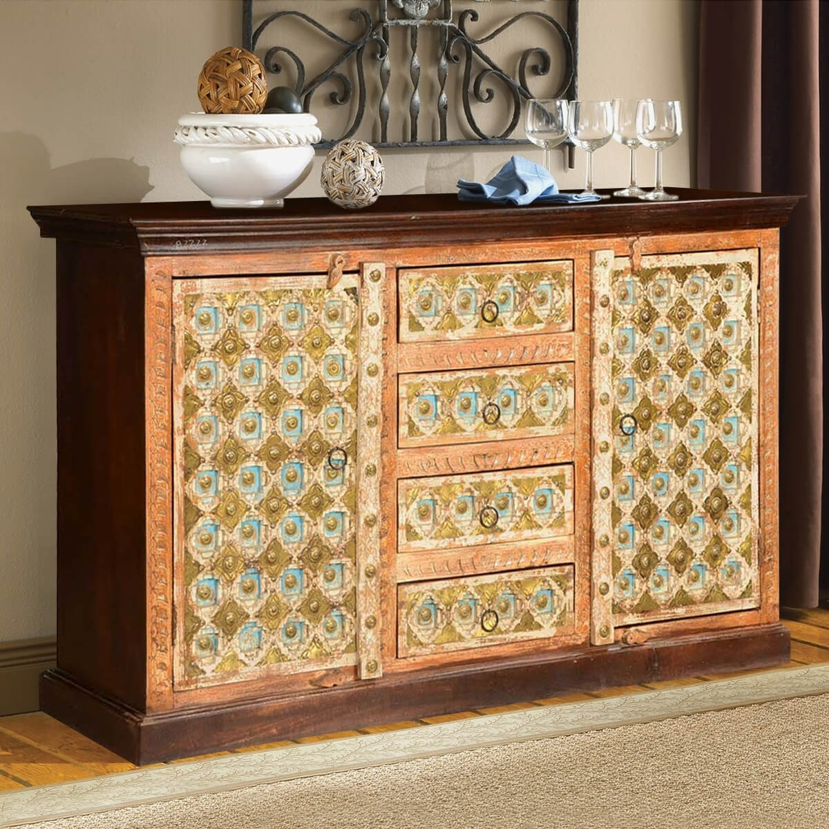 Turkish Handcrafted Brass Inlay Mango Wood 4 Drawer Sideboard Cabinet throughout Open Shelf Brass 4-Drawer Sideboards (Image 22 of 30)