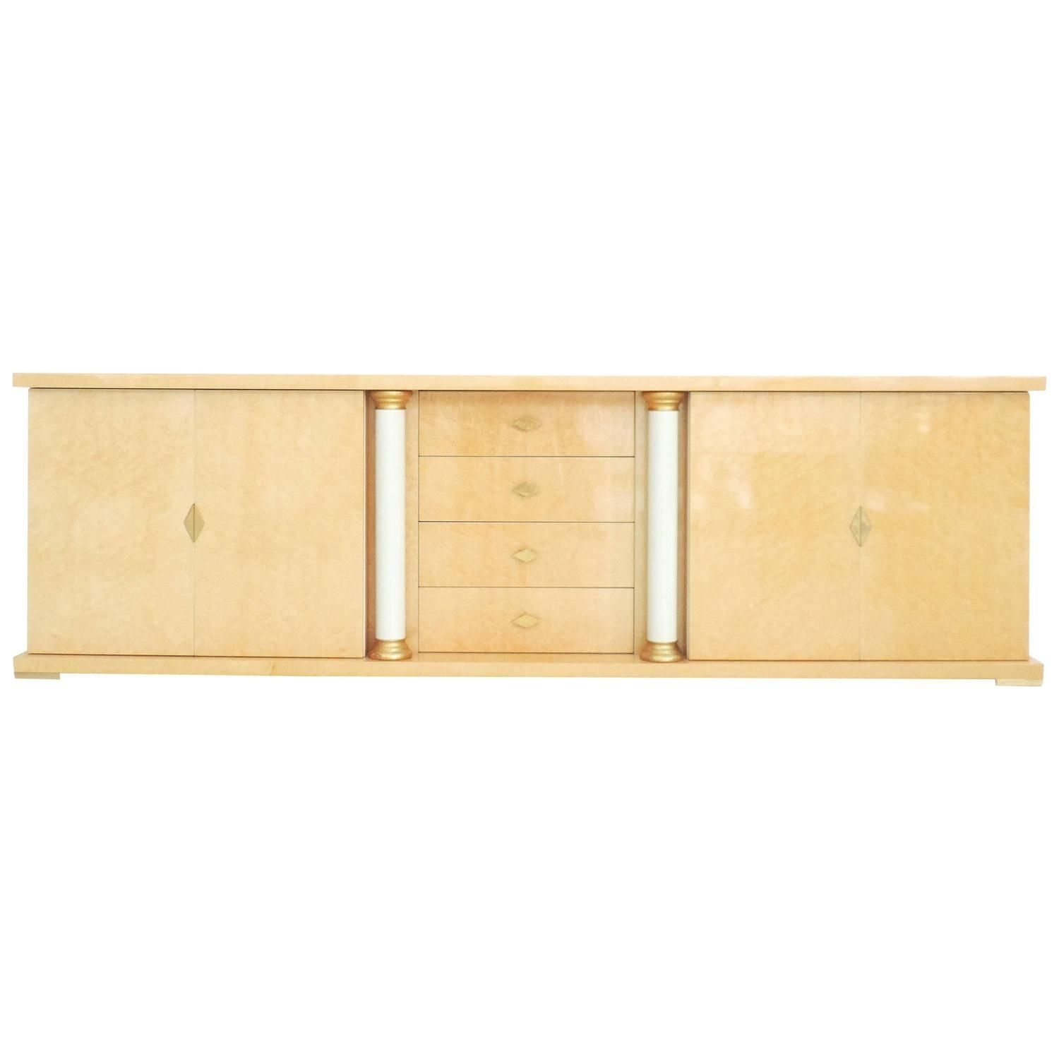 Turri Italian Bird's-Eye Maple Brass Gold Sideboard Credenza inside Rossi Large Sideboards (Image 29 of 30)