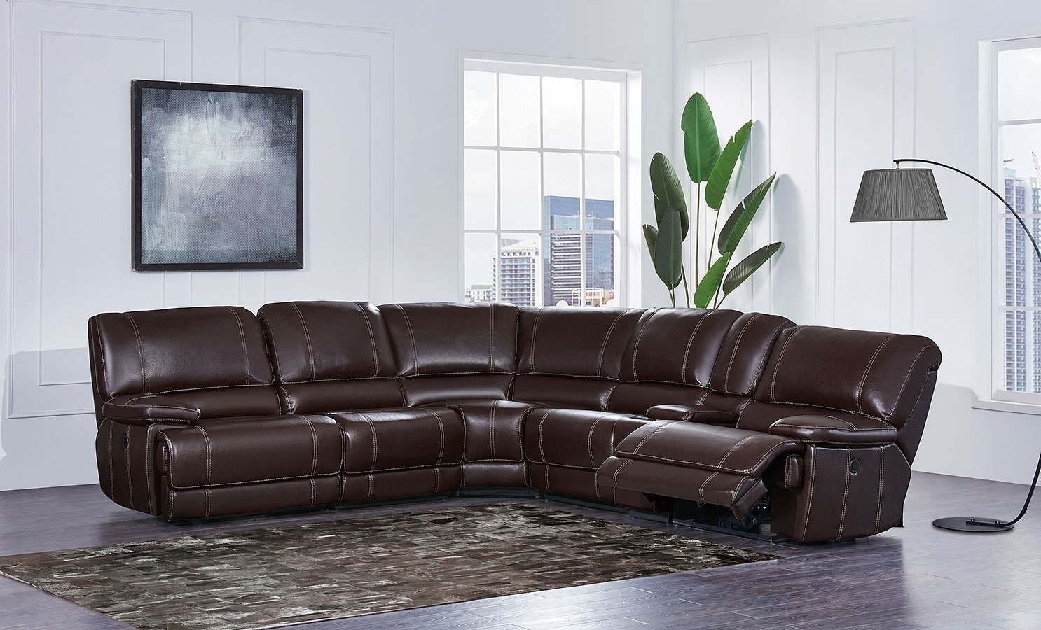 U1953 Modular Power Reclining Sectional Global Furniture | Furniture Pertaining To Sierra Down 3 Piece Sectionals With Laf Chaise (View 29 of 30)