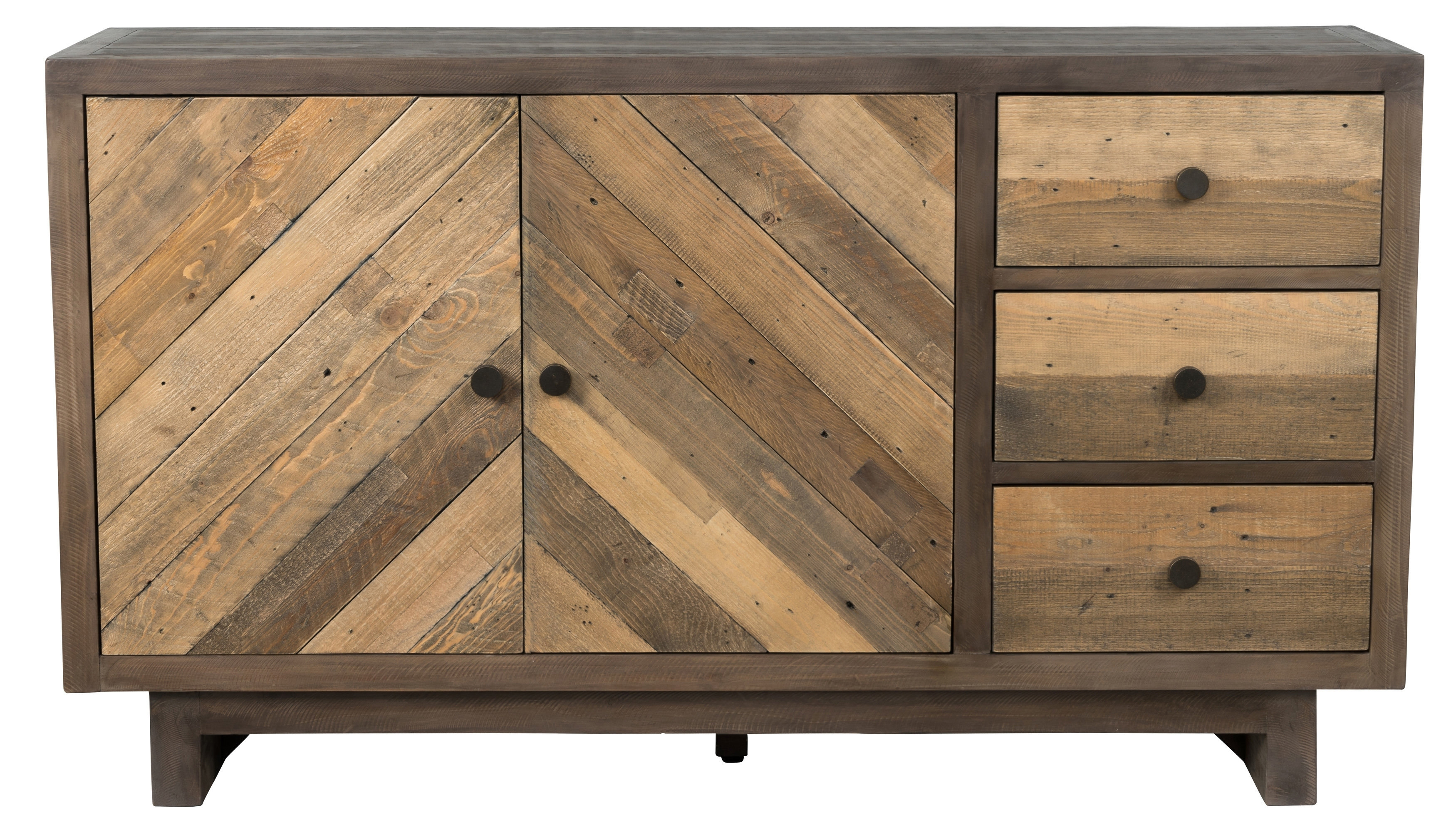 Union Rustic Brennan Reclaimed Pine 3 Drawer Sideboard & Reviews throughout Reclaimed Pine & Iron 4-Door Sideboards (Image 29 of 30)