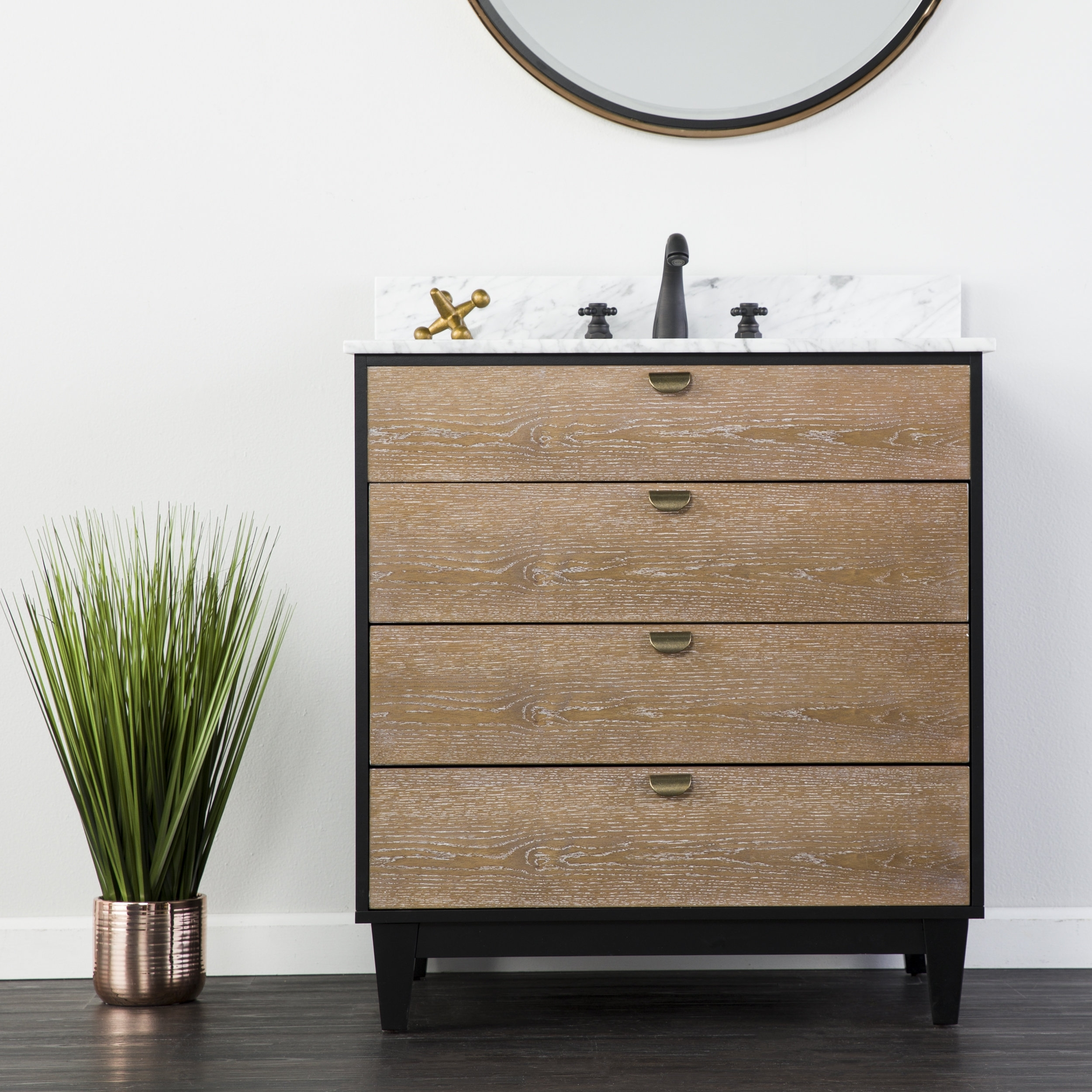 Union Rustic Holly & Martin Tobin Bath Vanity Sink W/ Marble Top with Black Burnt Oak Sideboards (Image 29 of 30)