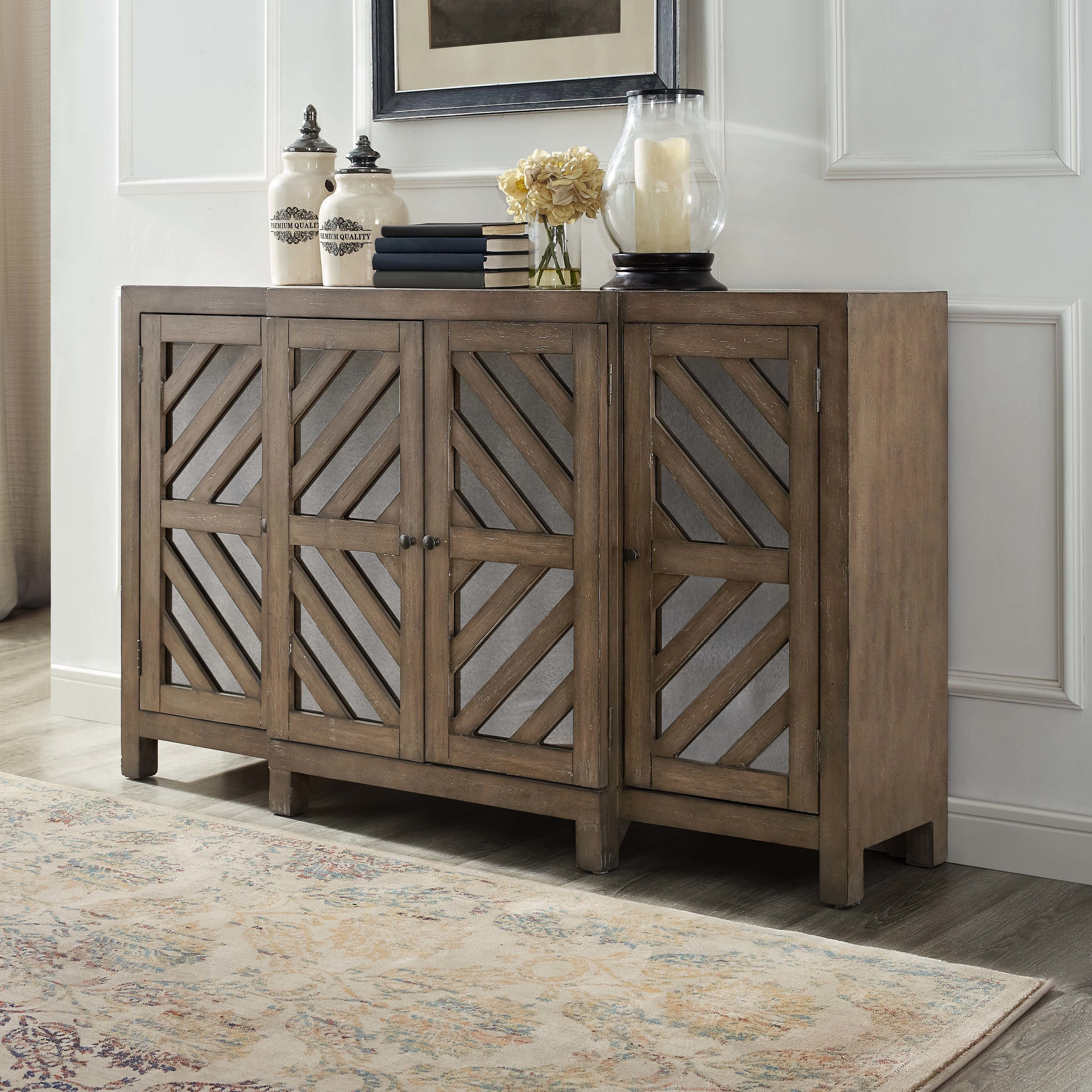Union Rustic Lowrey 4 Door Credenza & Reviews | Wayfair with Vintage Finish 4-Door Sideboards (Image 26 of 30)