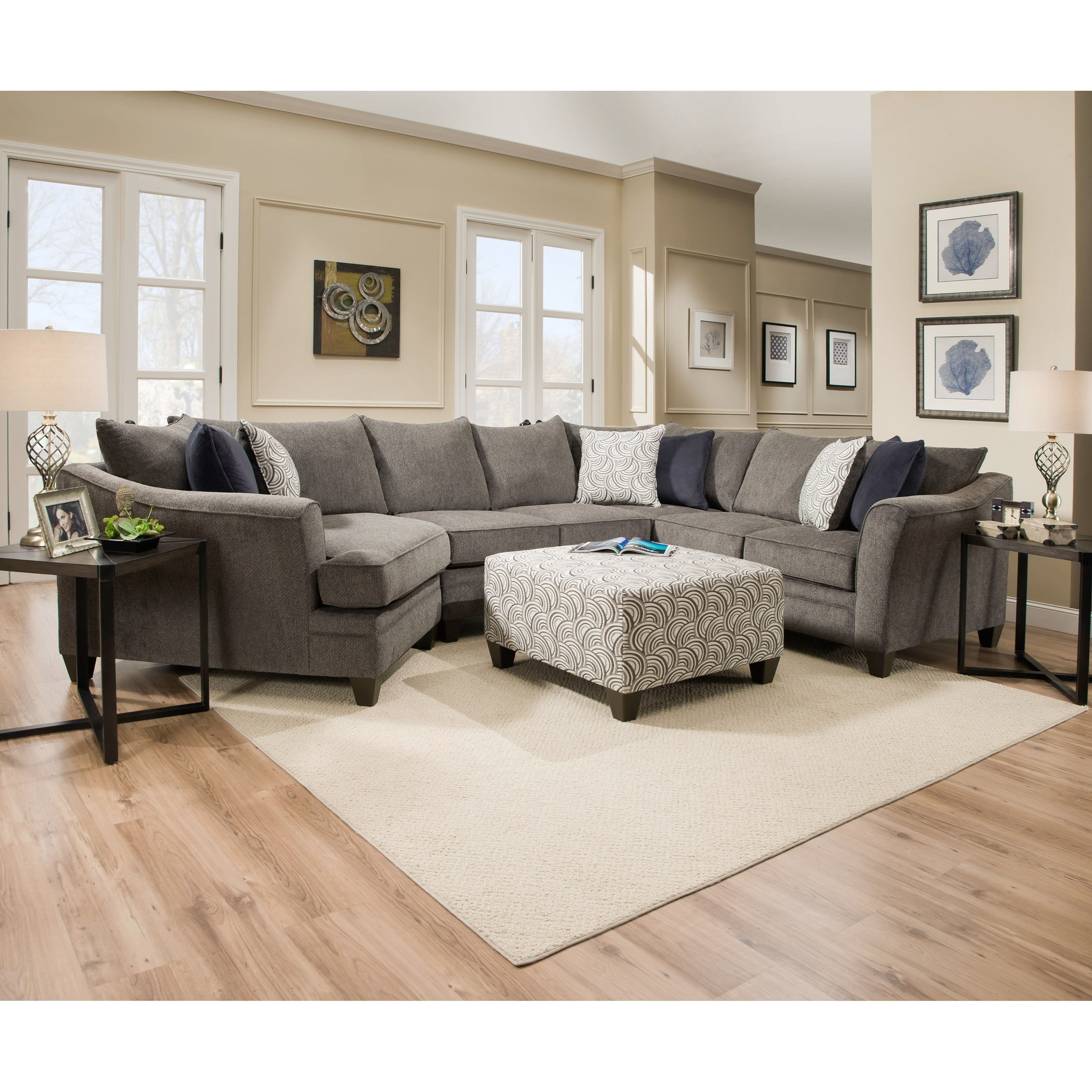 United Furniture Industries 6485 Pewter Transitional Sectional inside Glamour Ii 3 Piece Sectionals (Image 30 of 30)