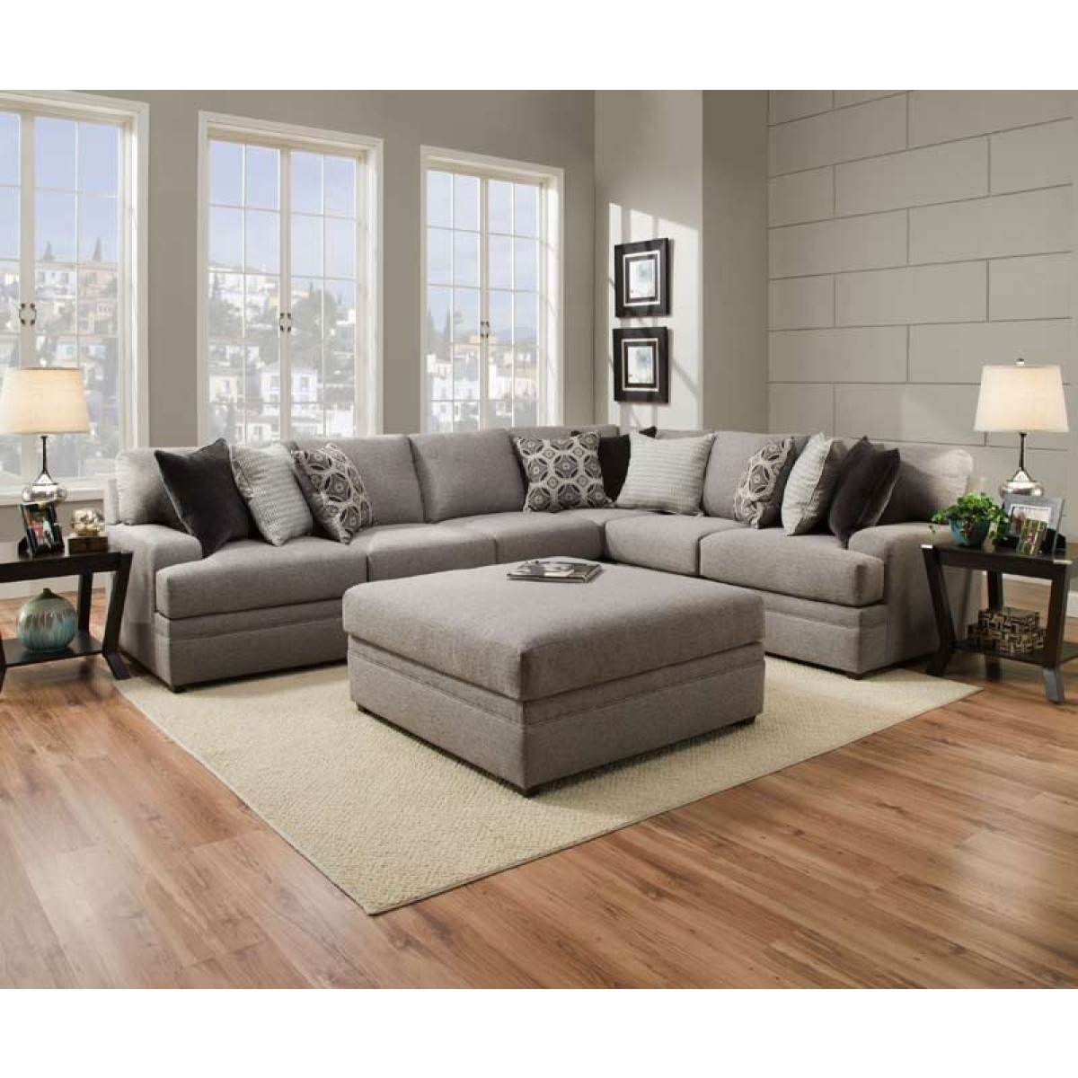 Uptown Loft White 2 Pc Sectional in Tatum Dark Grey 2 Piece Sectionals With Raf Chaise (Image 30 of 30)