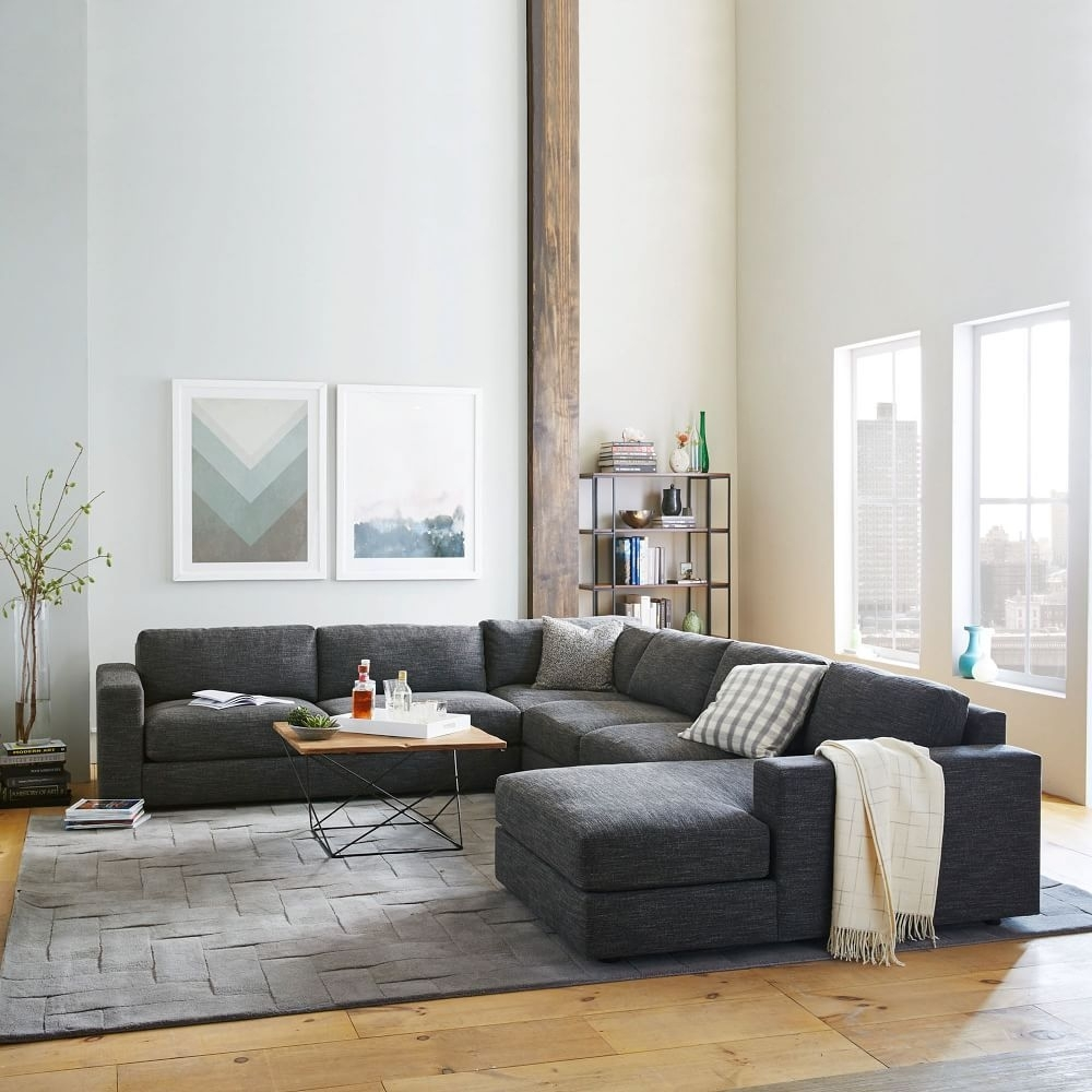 Urban 4-Piece Chaise Sectional - Charcoal (Heathered Tweed) | West with regard to Aidan 4 Piece Sectionals (Image 28 of 30)