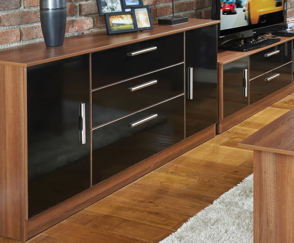 Ursula Black And Walnut 2 Door 3 Drawer Sideboards throughout Walnut Small Sideboards (Image 26 of 30)
