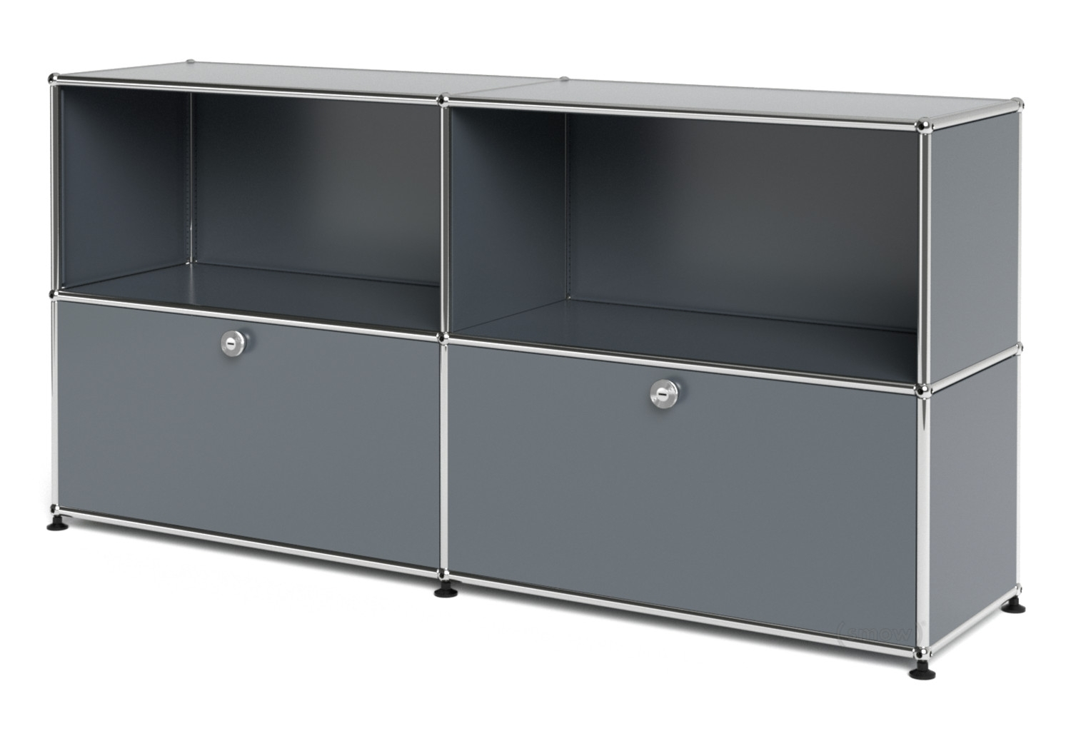 Usm Haller Sideboard L, Customisable, Mid Grey Ral 7005, Open, With intended for Open Shelf Brass 4-Drawer Sideboards (Image 25 of 30)