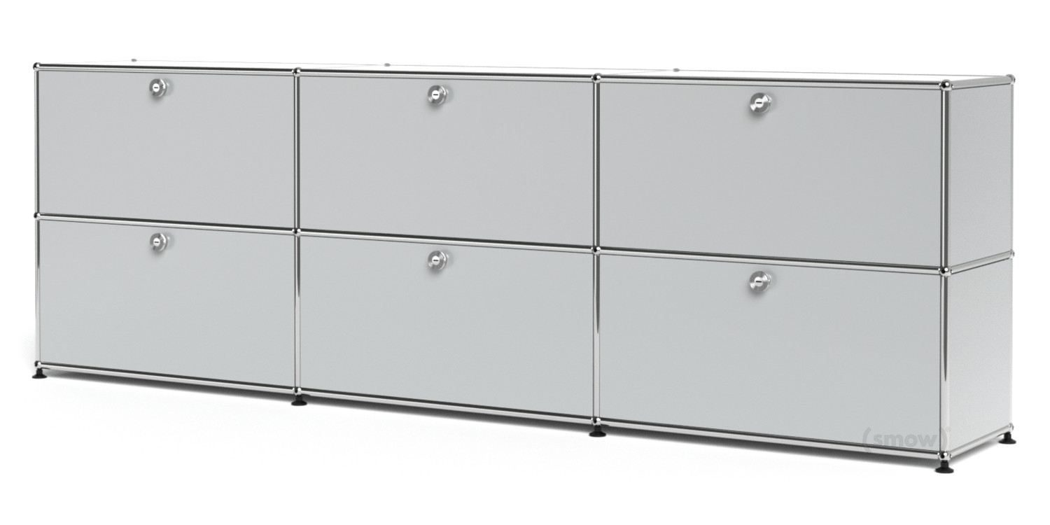 Usm Haller Sideboard Xl, Customisable, Light Grey Ral 7035, With 3 inside 3-Door 3-Drawer Metal Inserts Sideboards (Image 27 of 30)