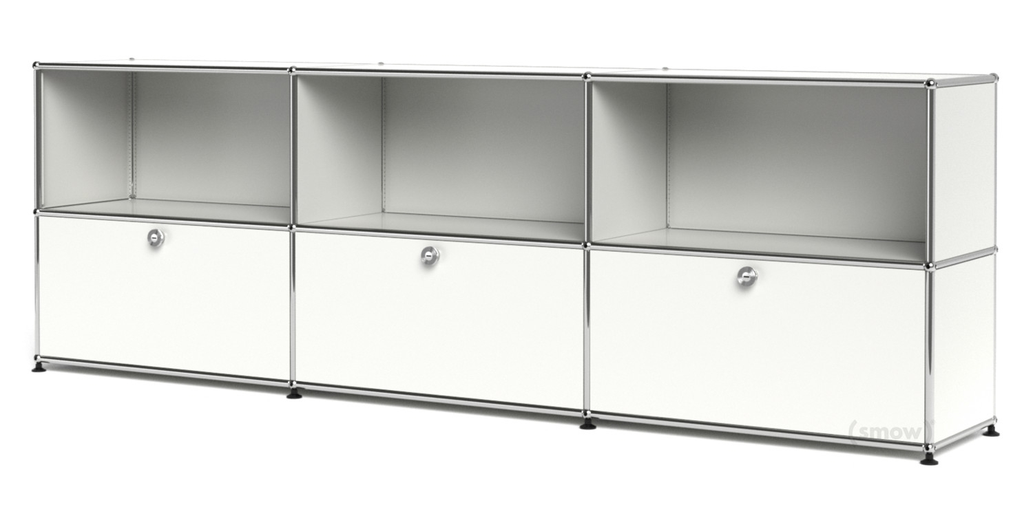 Usm Haller Sideboard Xl, Customisable, Pure White Ral 9010, Open inside 3-Door 3-Drawer Metal Inserts Sideboards (Image 28 of 30)
