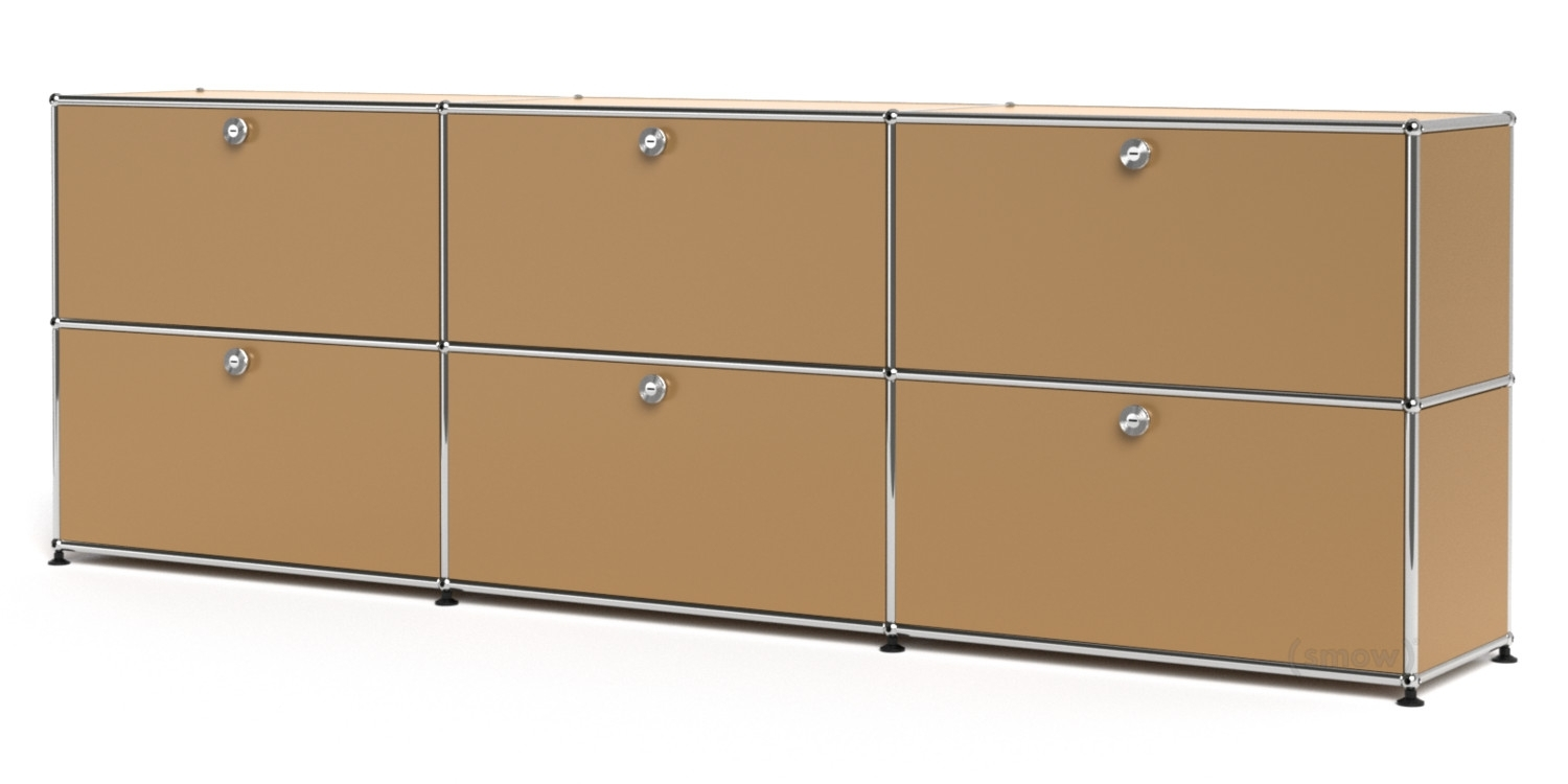 Usm Haller Sideboard Xl, Customisable, Usm Beige, With 3 Drop-Down inside 3-Door 3-Drawer Metal Inserts Sideboards (Image 29 of 30)