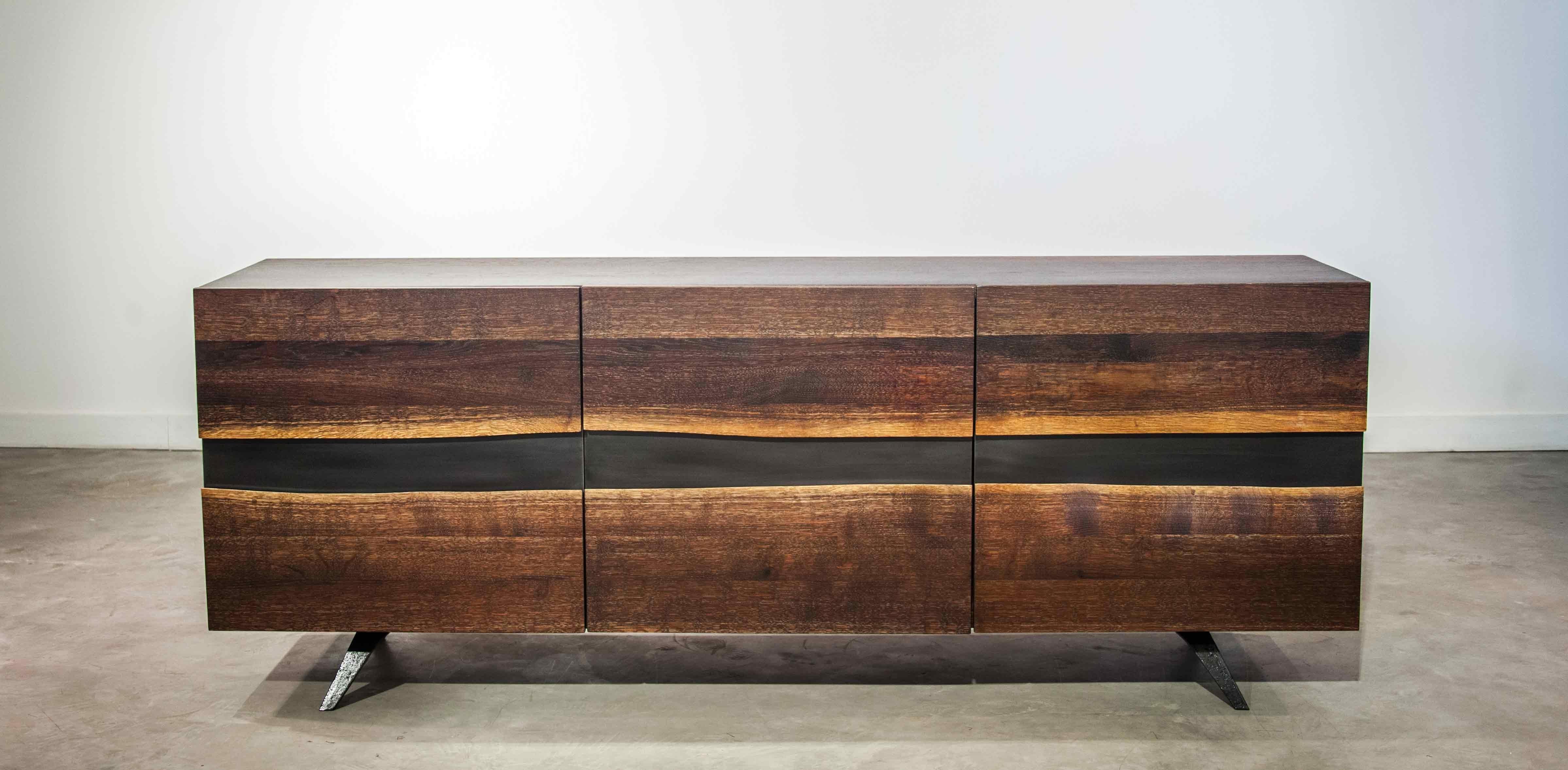 Vega Sideboard | Seared Oak - Thin & Bold within Black Oak Wood and Wrought Iron Sideboards (Image 29 of 30)