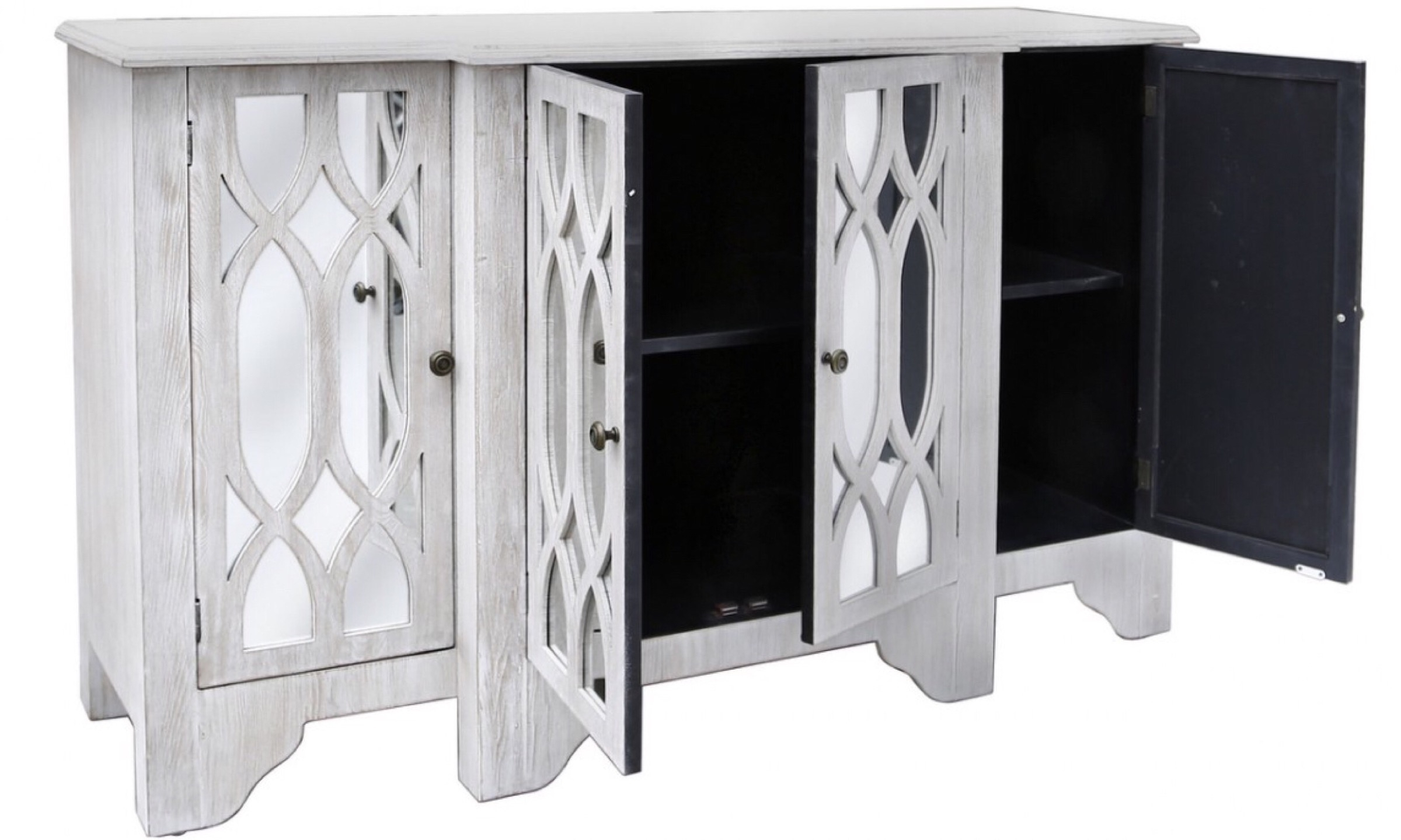 Venice Washed Ash 4 Door Sideboard – Furco pertaining to White Wash 4-Door Sideboards (Image 19 of 30)