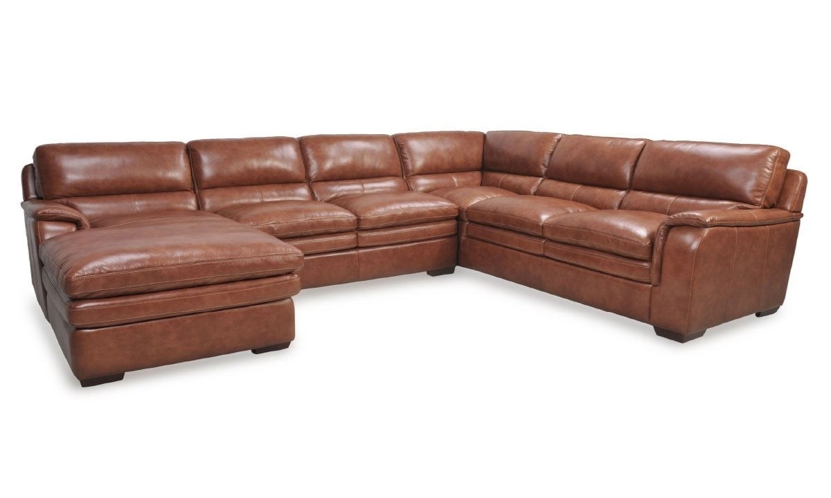 Venus Brandy Leather Chaise Sectional | The Dump Luxe Furniture Outlet within Norfolk Grey 6 Piece Sectionals With Raf Chaise (Image 30 of 30)