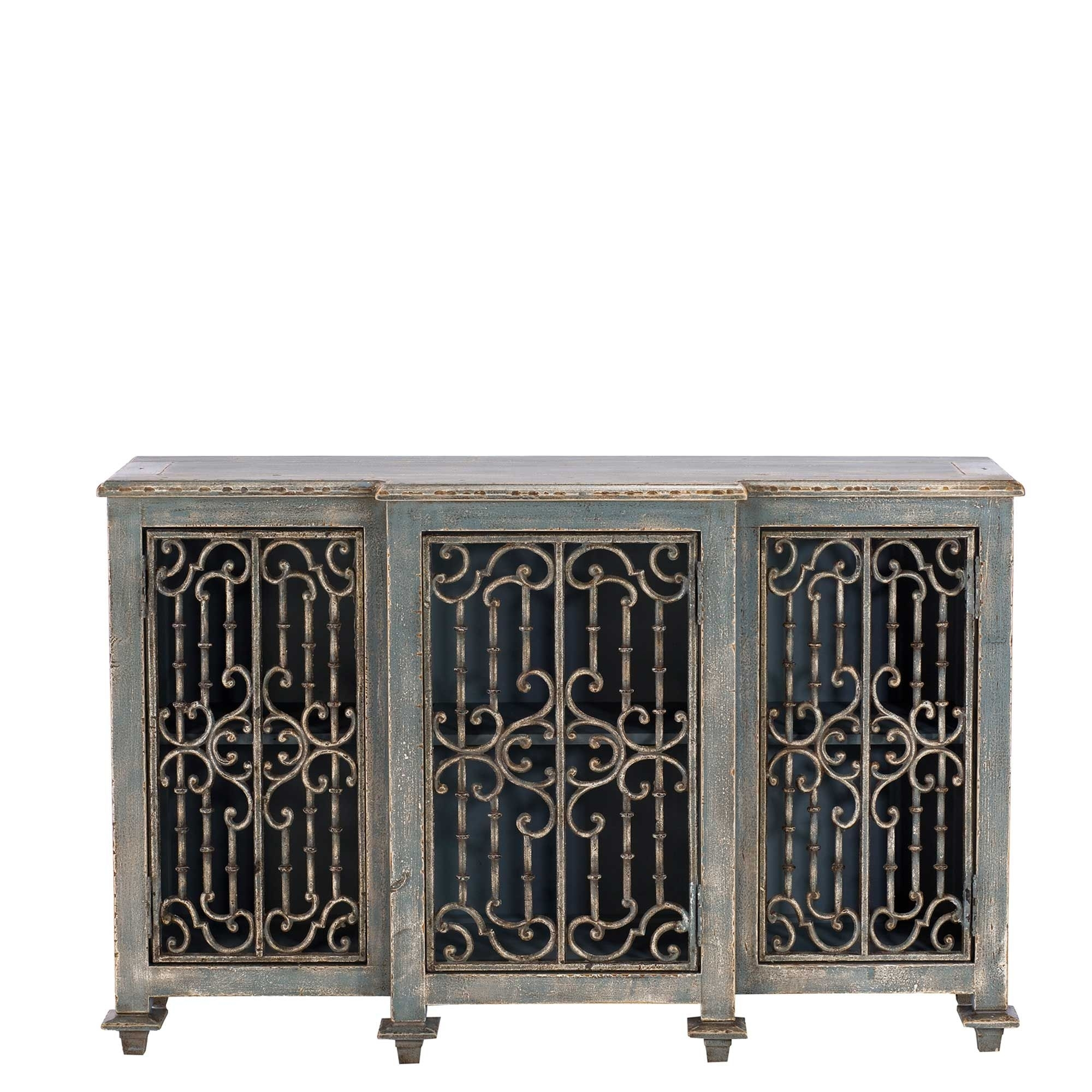 Versaille Reclaimed Wood And Cast Iron Sideboard, Grey | Tables with Iron Pine Sideboards (Image 29 of 30)
