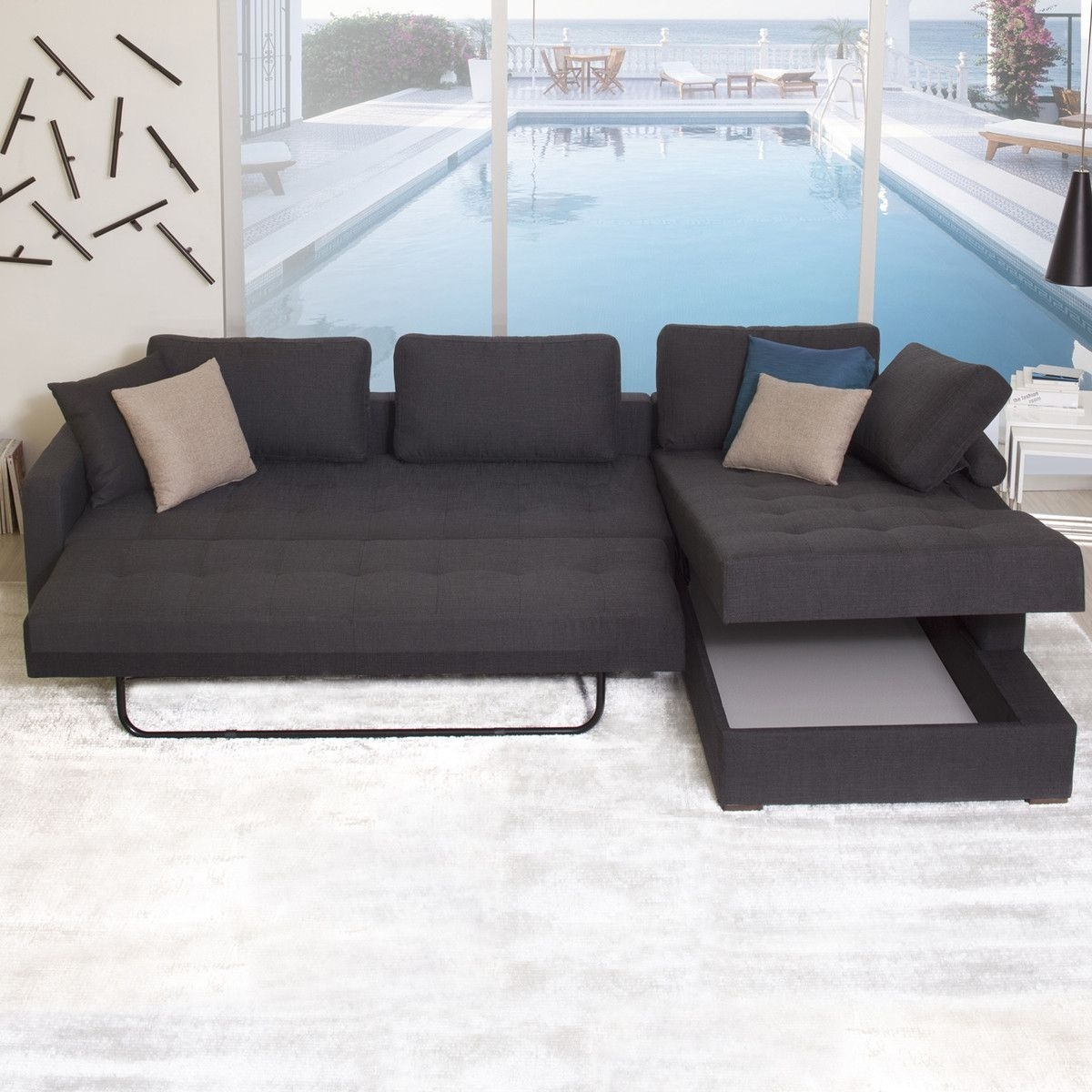 Vetro Sofa Bed R-Facing Chaise | My Urban Retreat | Pinterest | Sofa with Travis Dk Grey Leather 6 Piece Power Reclining Sectionals With Power Headrest & Usb (Image 30 of 30)