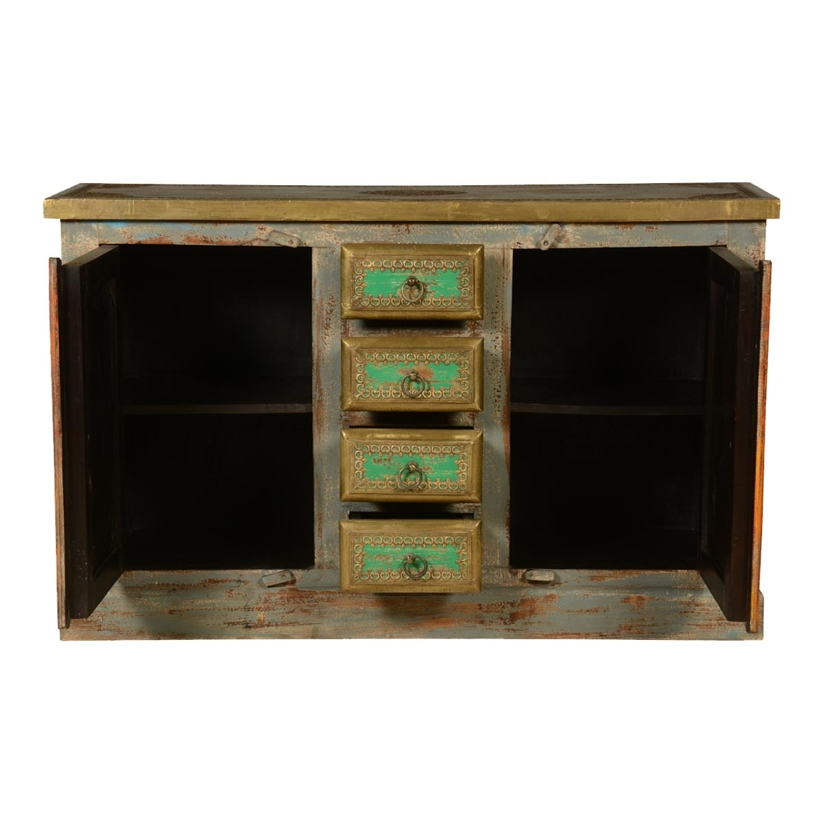 Victorian Distressed Reclaimed Wood Brass Inlay 4 Drawer Sideboard in Open Shelf Brass 4-Drawer Sideboards (Image 27 of 30)