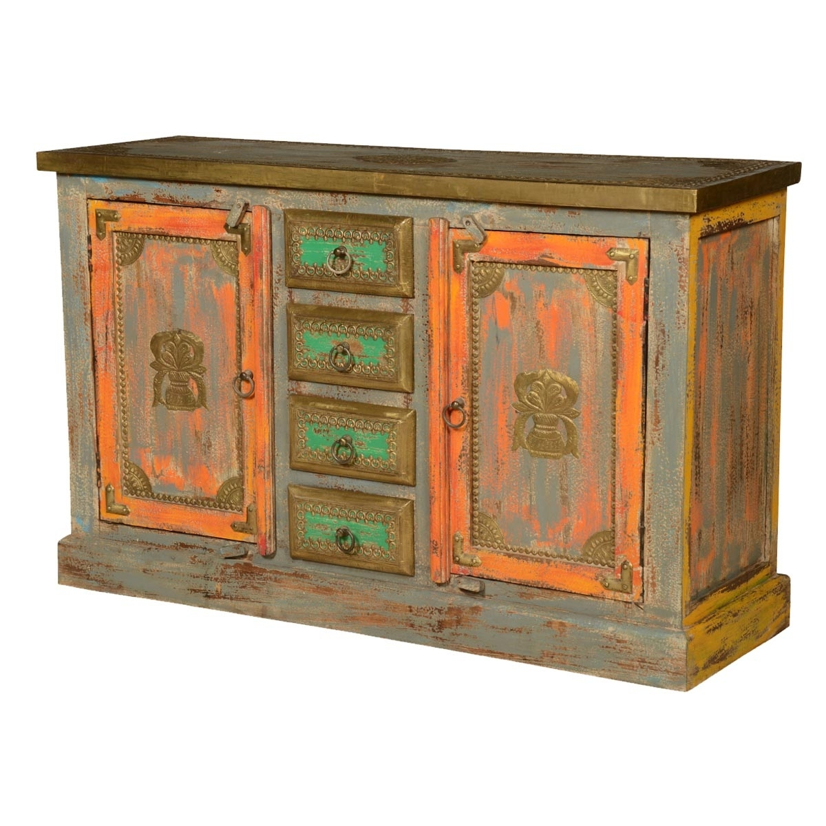Victorian Distressed Reclaimed Wood Brass Inlay 4 Drawer Sideboard with Open Shelf Brass 4-Drawer Sideboards (Image 28 of 30)