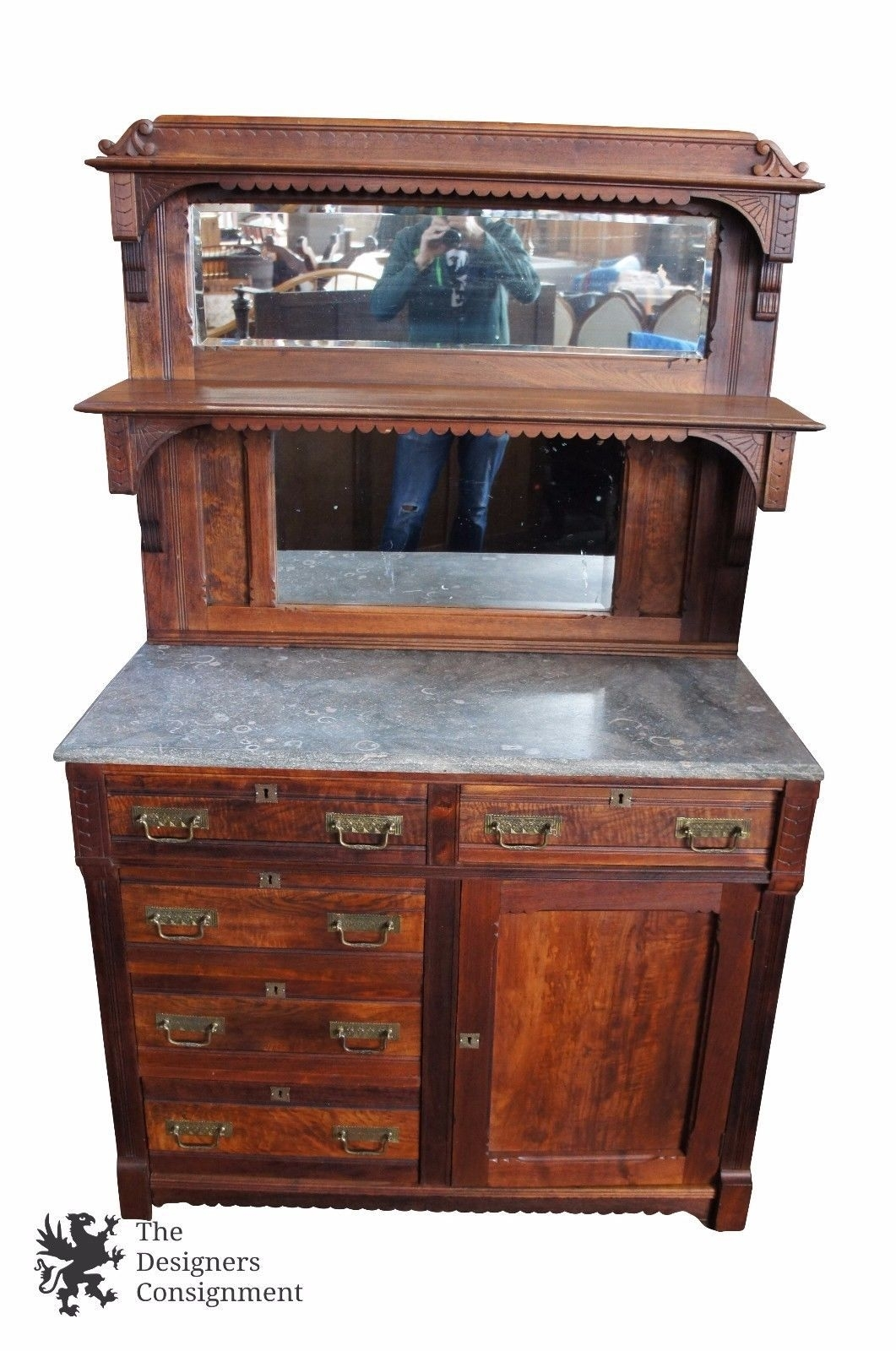Victorian Eastlake Marble Top Sideboard Server Walnut Mirror inside Norwood Sideboards (Image 22 of 30)