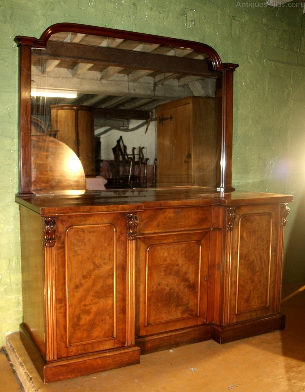 Victorian Mahogany Four Door Mirrored Sideboard - Antiques Atlas regarding Aged Mirrored 4 Door Sideboards (Image 29 of 30)
