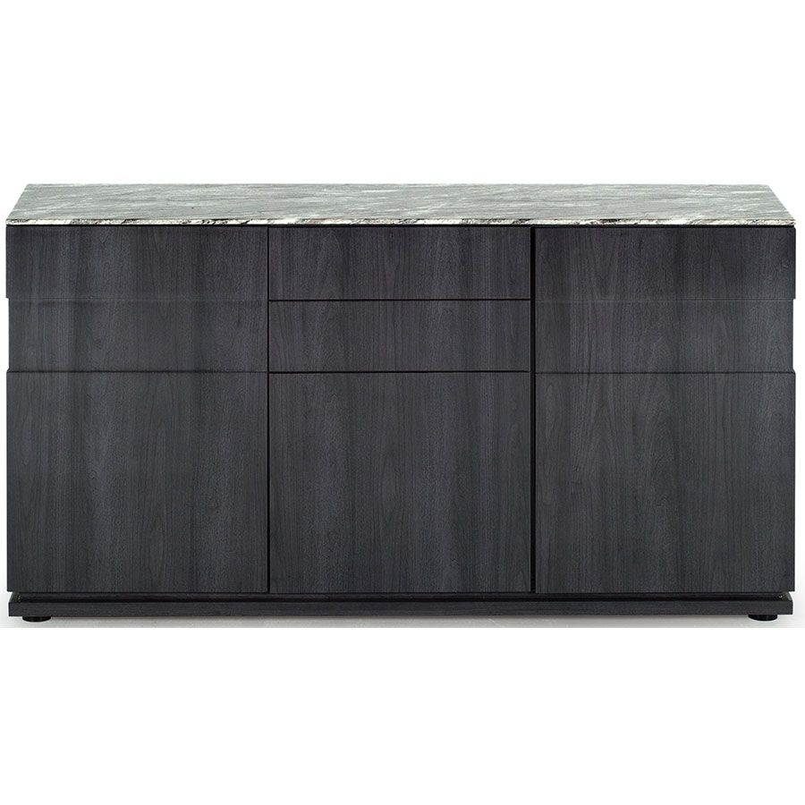 Vida Living Donatella Grey Marble Sideboard inside Corrugated White Wash Sideboards (Image 23 of 30)