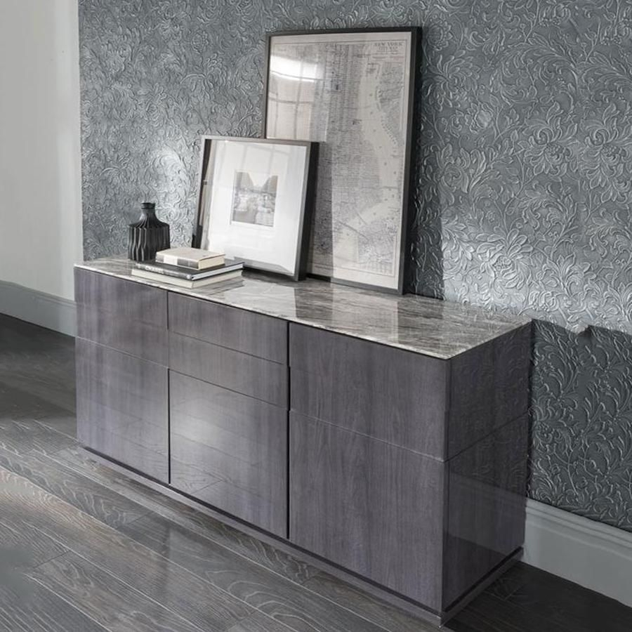 Vida Living Donatella Grey Marble Sideboard with Corrugated White Wash Sideboards (Image 24 of 30)