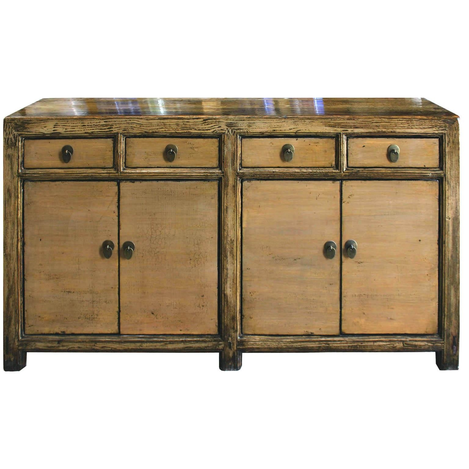Vintage Black Lacquered Chinoiserie Five-Drawer Sideboard With in Vintage Brown Textured Sideboards (Image 22 of 30)