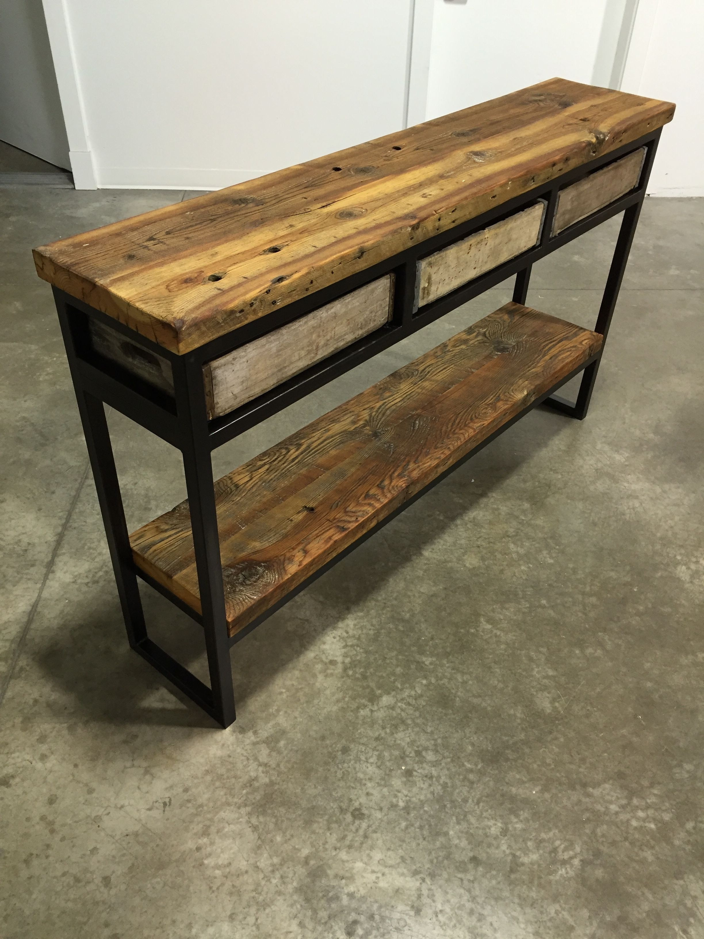 Vintage Crate Buffet/sofa Table. Reclaimed Montana Barn Wood Top with Metal Framed Reclaimed Wood Sideboards (Image 30 of 30)