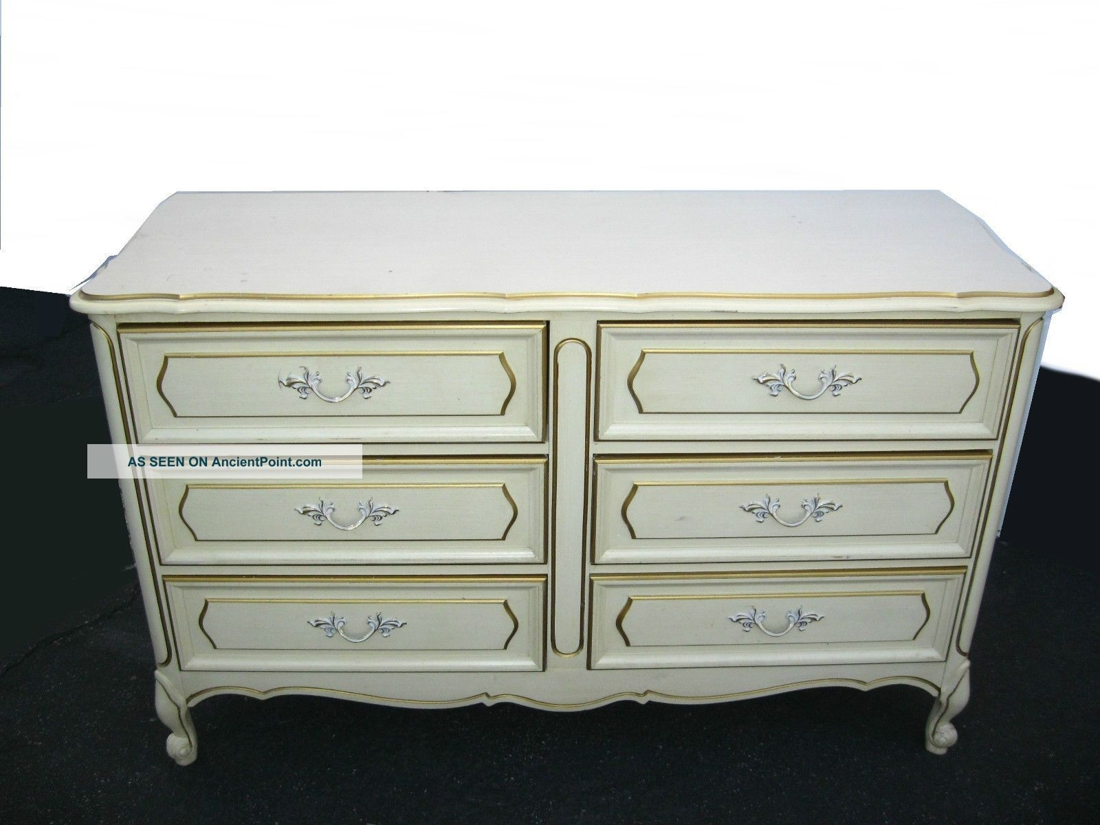 Vintage Henry Link French Provincial Off White Dresser W/ 6 Drawers pertaining to Helms Sideboards (Image 30 of 30)