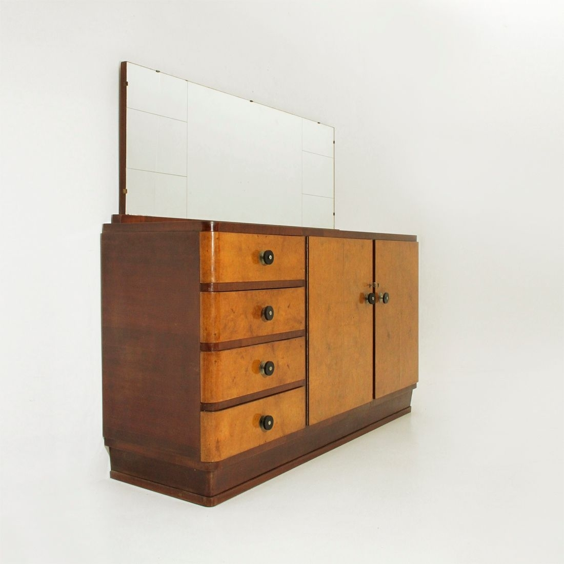 Vintage Italian Sideboard & Mirror, 1930S For Sale At Pamono inside Aged Mirrored 2 Door Sideboards (Image 30 of 30)