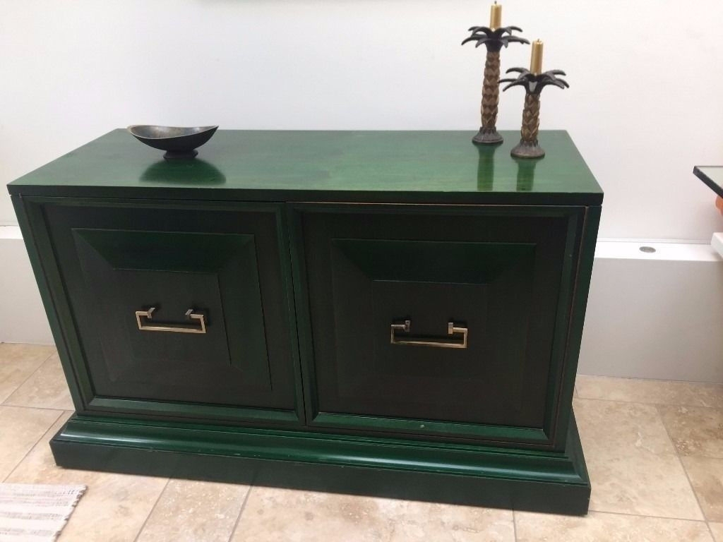 Vintage Mid Century Sideboard Cabinet 1960S 70S Green Younger Wood within Vintage 8 Glass Sideboards (Image 24 of 30)