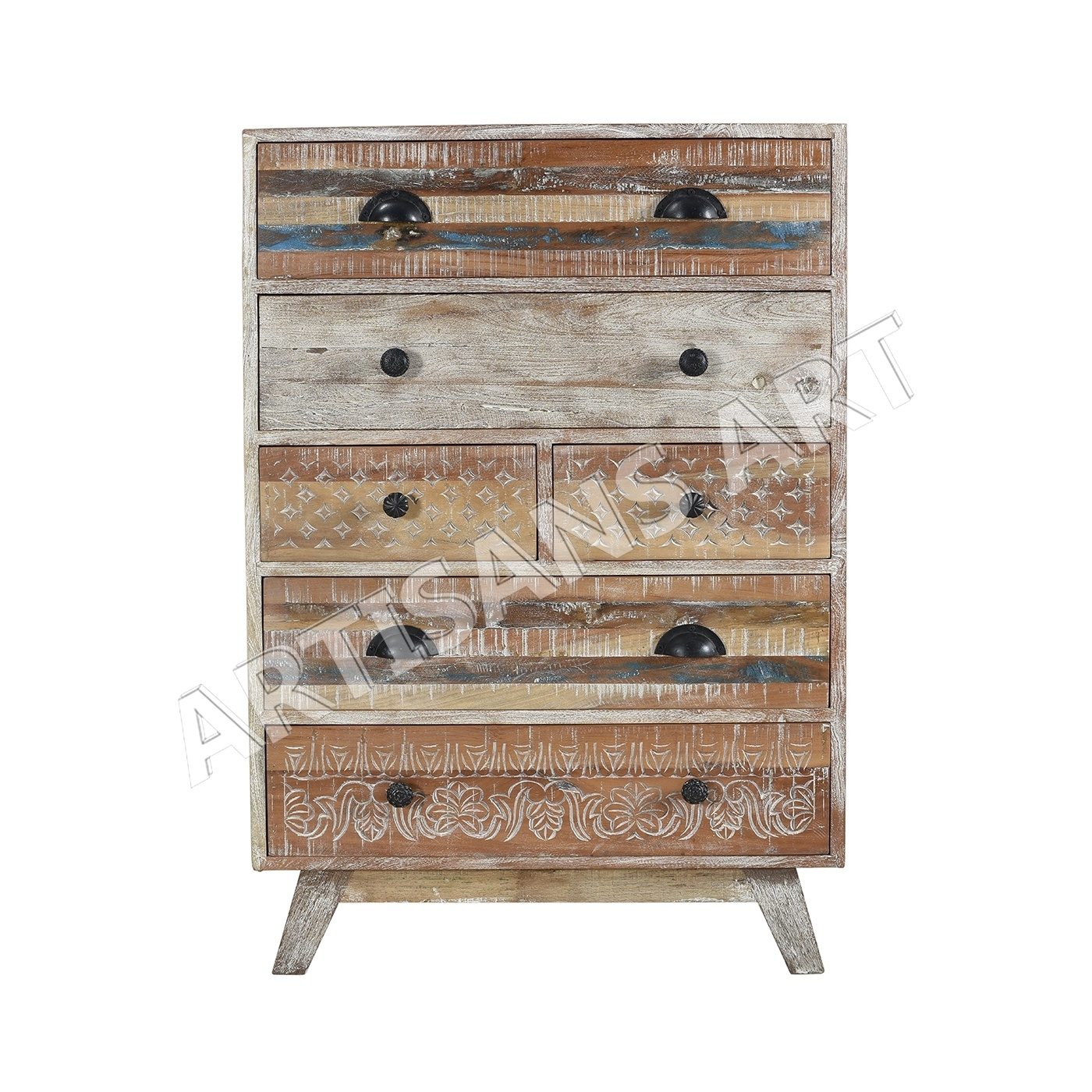 Vintage Recycled Wood White Washed Drawer Chest, Antique Furniture with regard to Corrugated White Wash Sideboards (Image 26 of 30)
