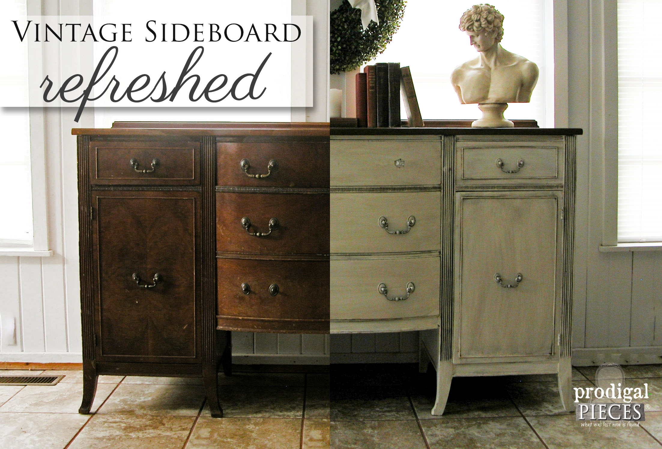 Vintage Sideboard Refreshed - Prodigal Pieces regarding Vintage Brown Textured Sideboards (Image 28 of 30)