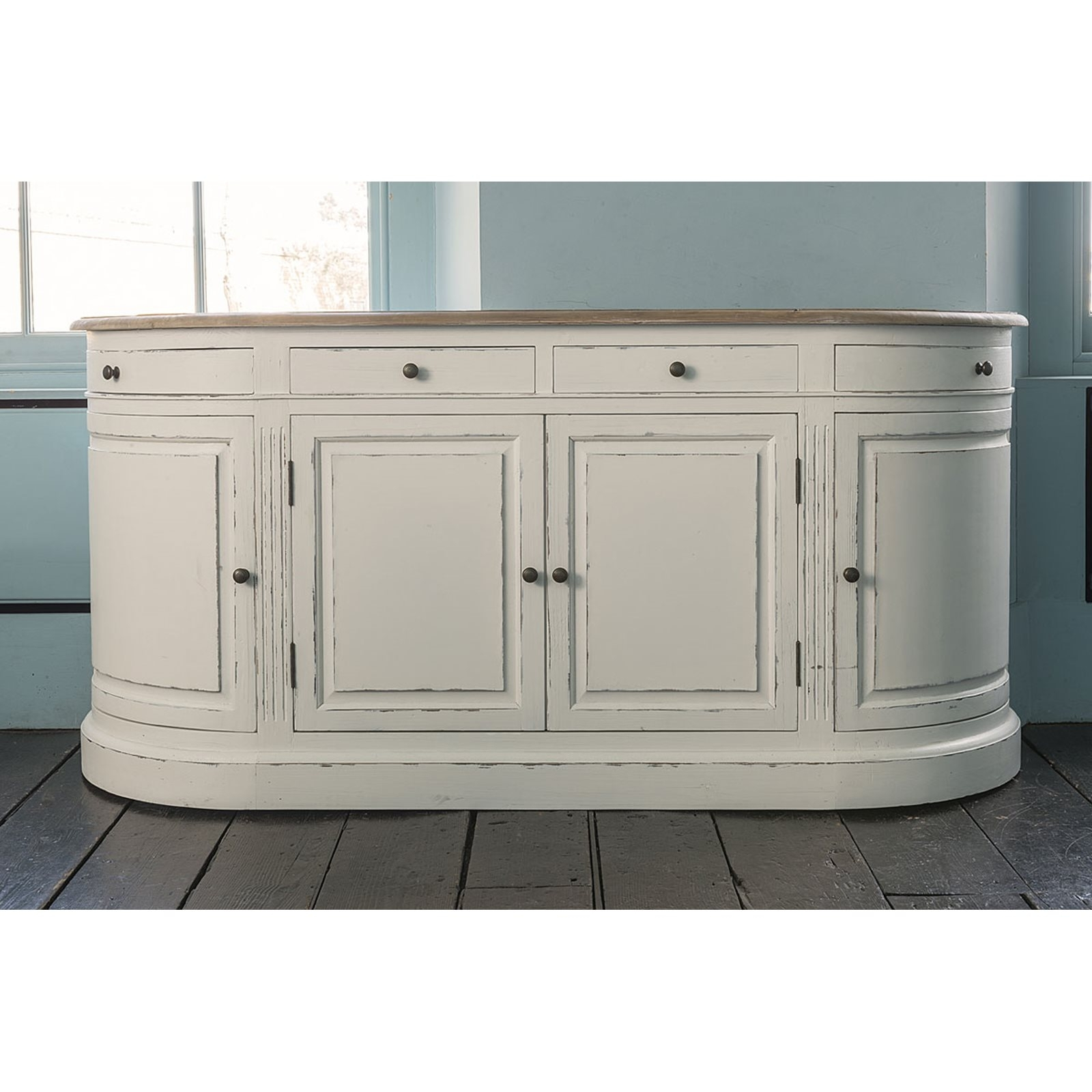 Vintage White Empire Curved Sideboard intended for Vintage 8 Glass Sideboards (Image 30 of 30)