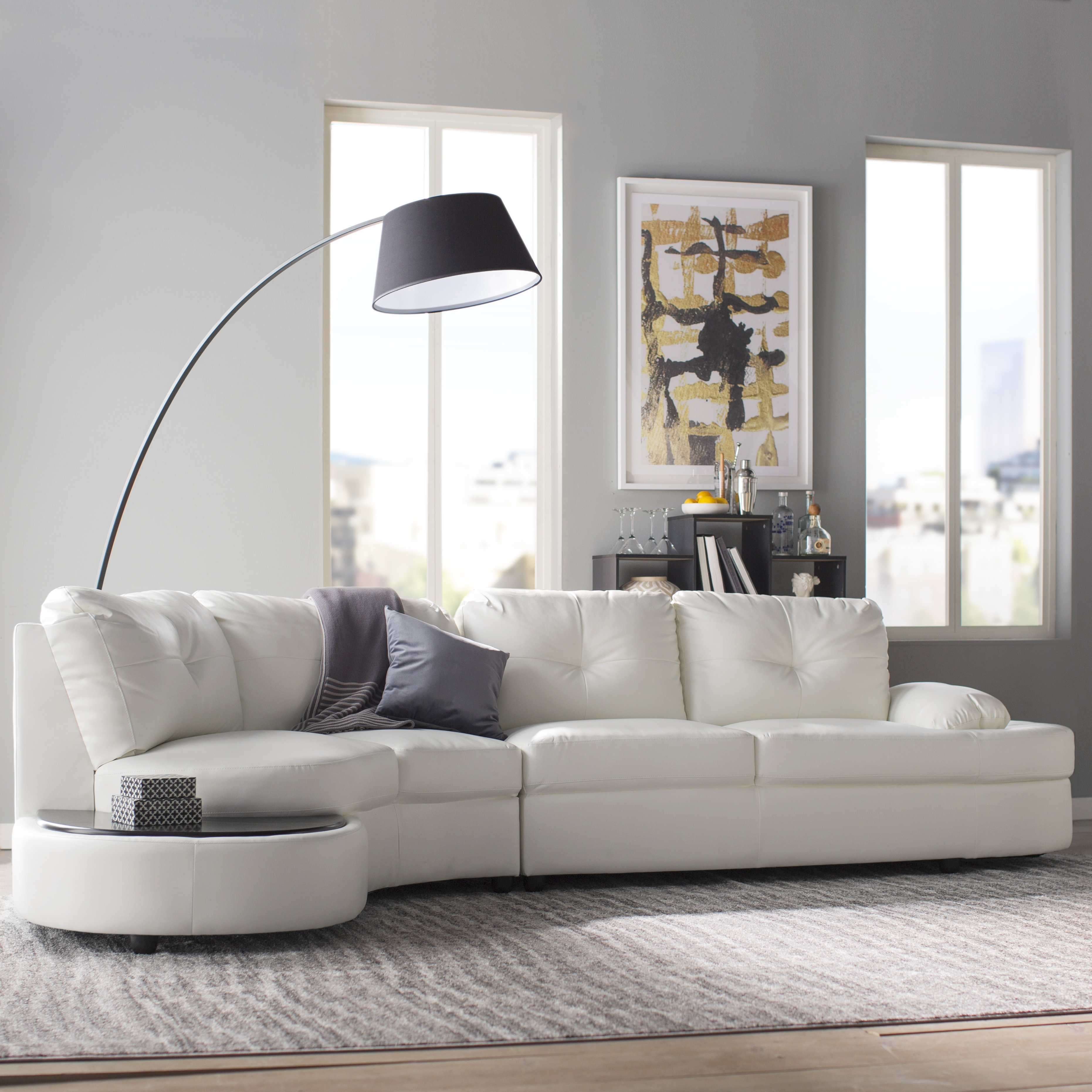 Wade Logan Bireuen Sectional & Reviews | Wayfair throughout Declan 3 Piece Power Reclining Sectionals With Left Facing Console Loveseat (Image 30 of 30)