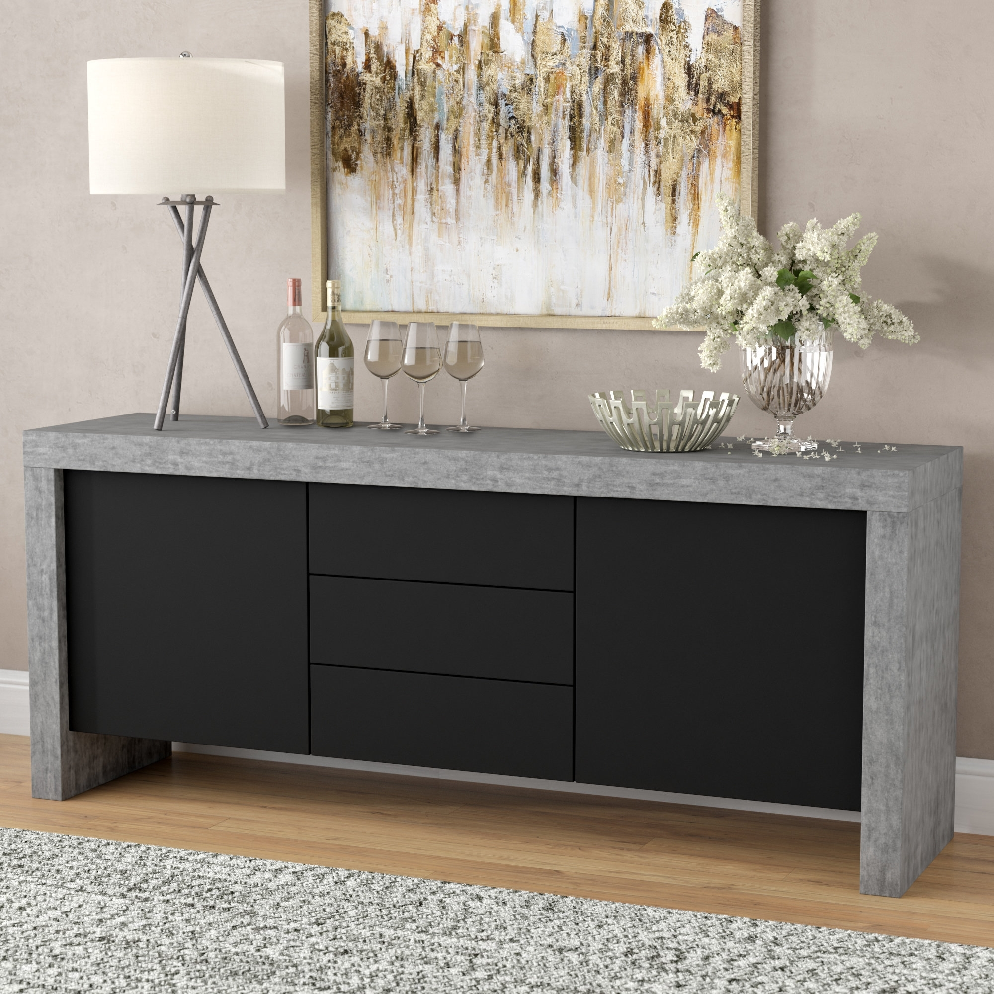 Wade Logan Cosette 2 Door Sideboard & Reviews | Wayfair pertaining to 2-Door Mirror Front Sideboards (Image 30 of 30)