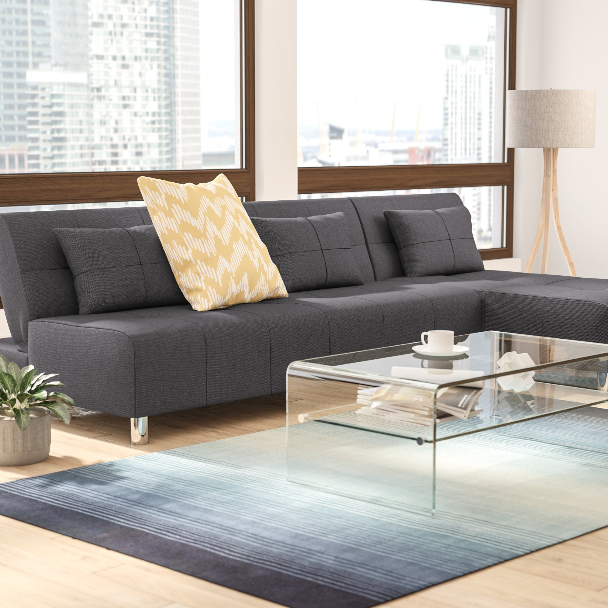 Wade Logan Ricardo Reversible Sleeper Sectional & Reviews | Wayfair Pertaining To Collins Sofa Sectionals With Reversible Chaise (Photo 13 of 30)