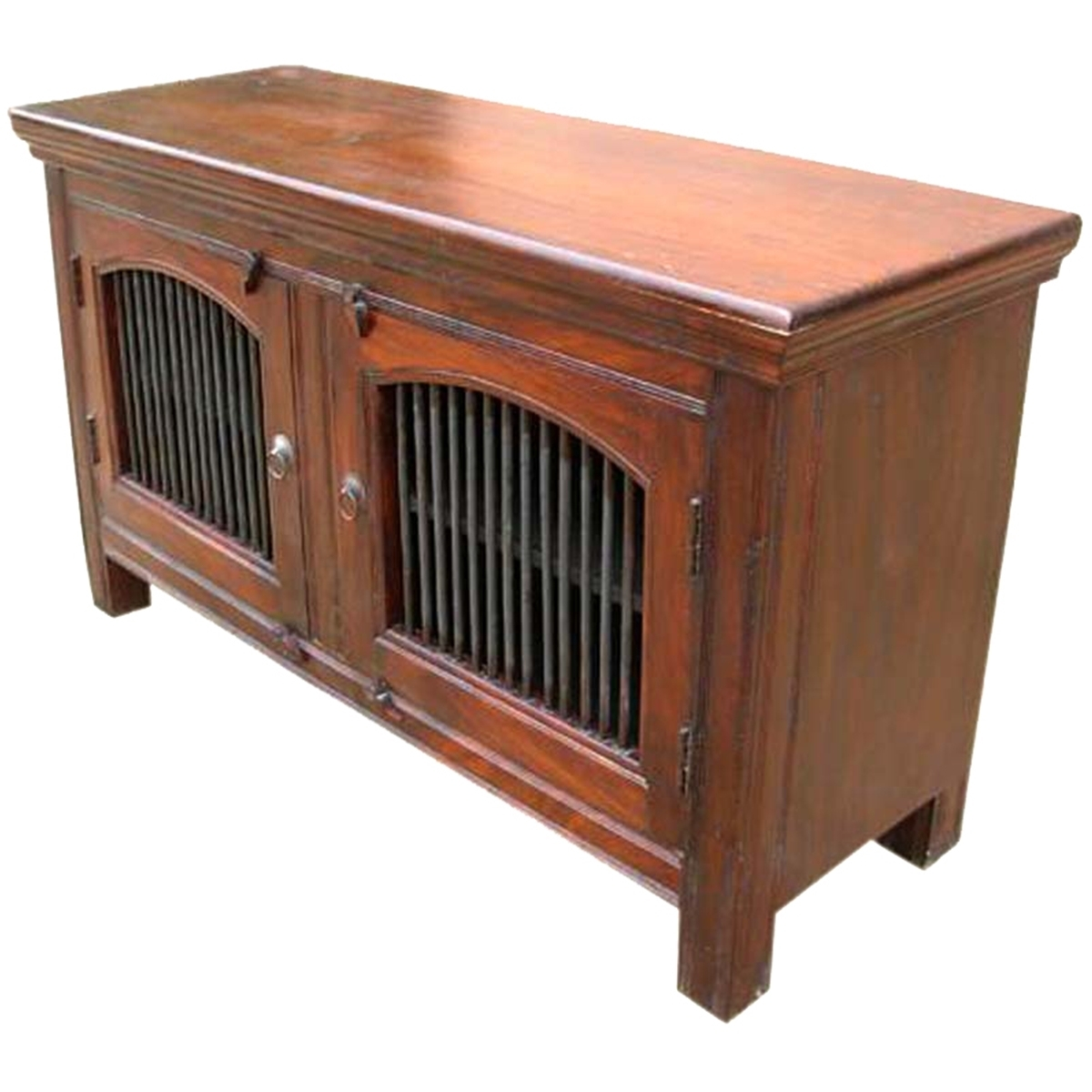 Wade Solid Wood 2 Wrought Iron Door Buffet Cabinet Within Black Oak Wood And Wrought Iron Sideboards (Photo 14 of 30)