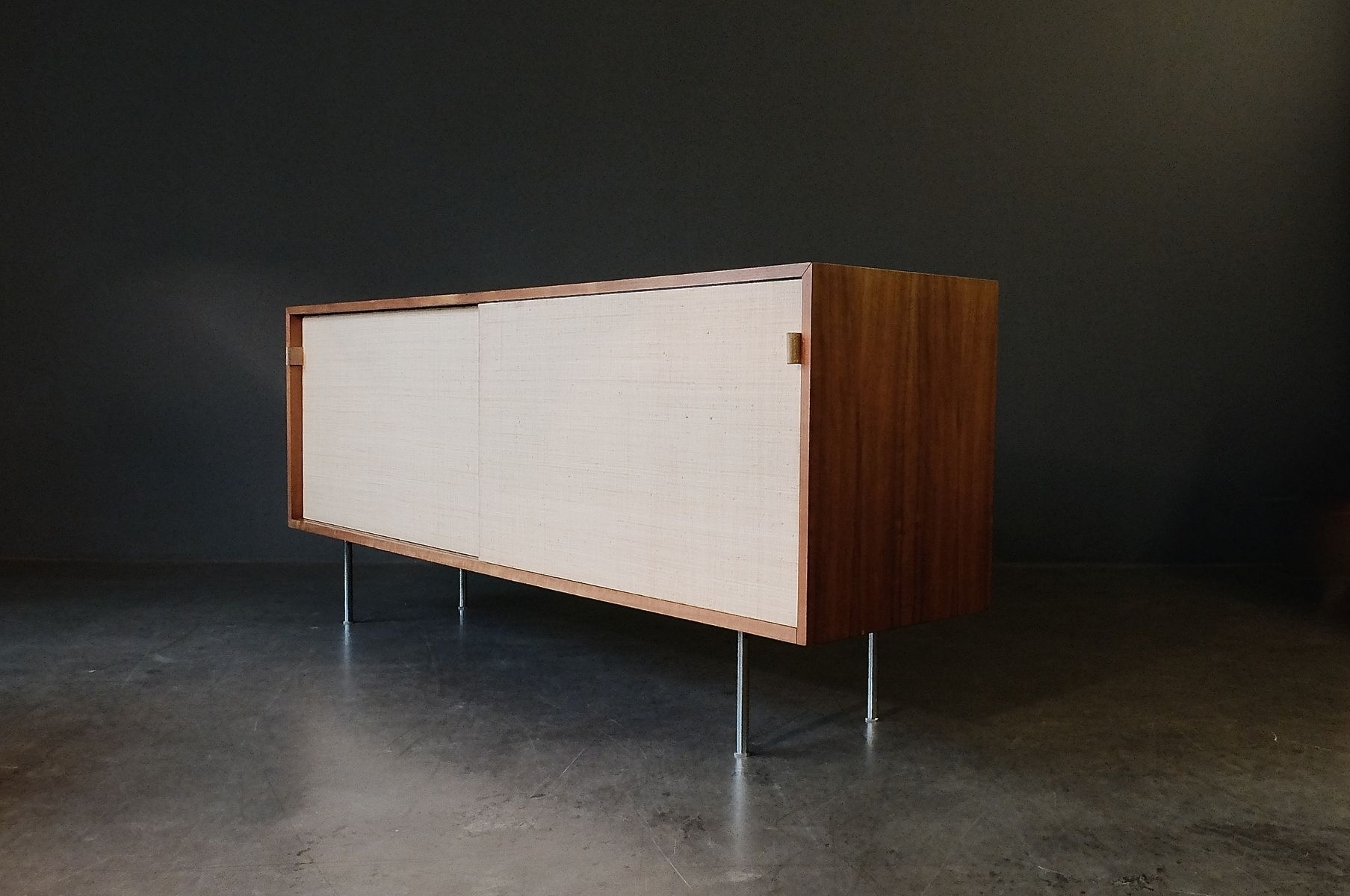 Walnut & Seagrass Sideboardflorence Knoll For Knoll, 1960S For for Girard 4 Door Sideboards (Image 29 of 30)