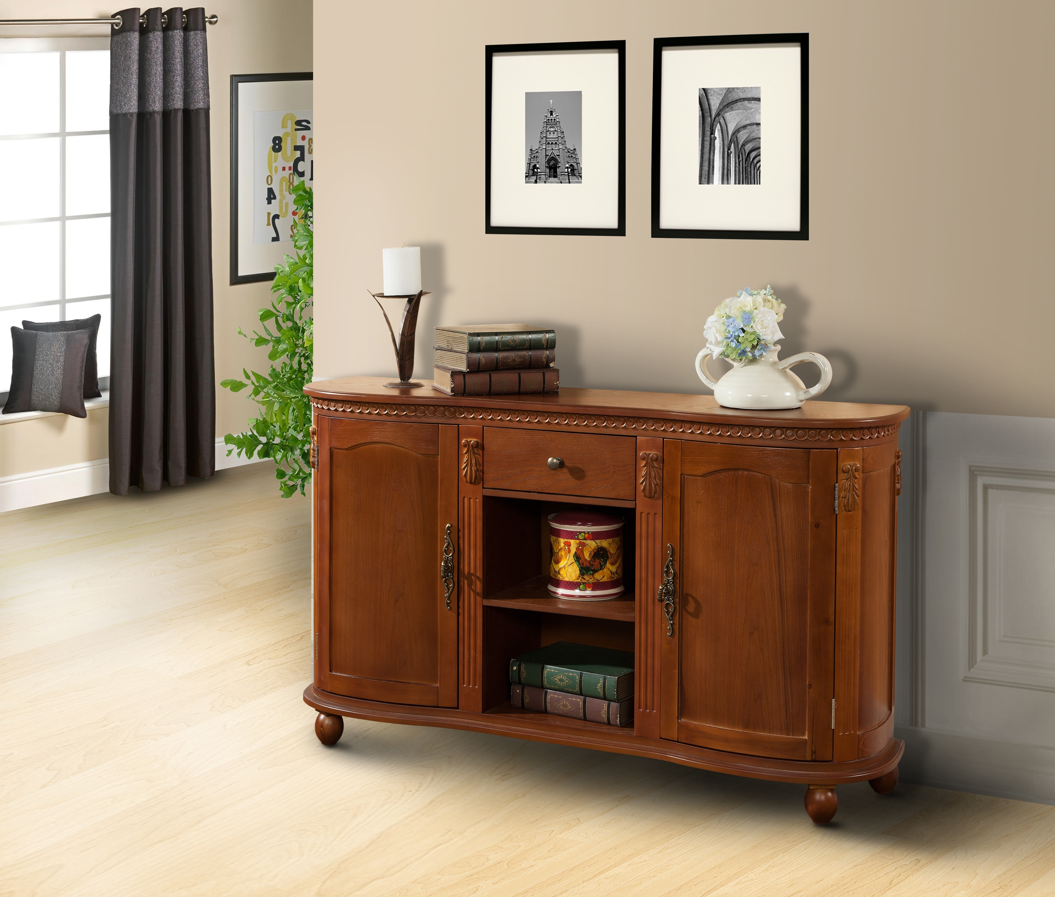 Walnut Wood Sideboard Buffet Console Table With Storage Drawer Pertaining To Walnut Finish 4 Door Sideboards (Photo 6 of 30)