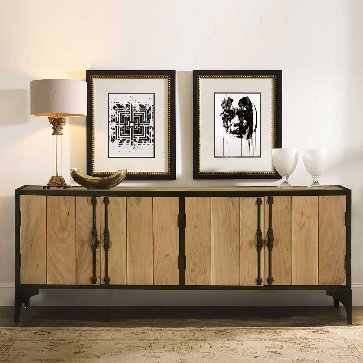 Warsaw Modern Mango Wood Iron Industrial Sideboard Cabinet Intended For Iron Sideboards (Photo 1 of 30)