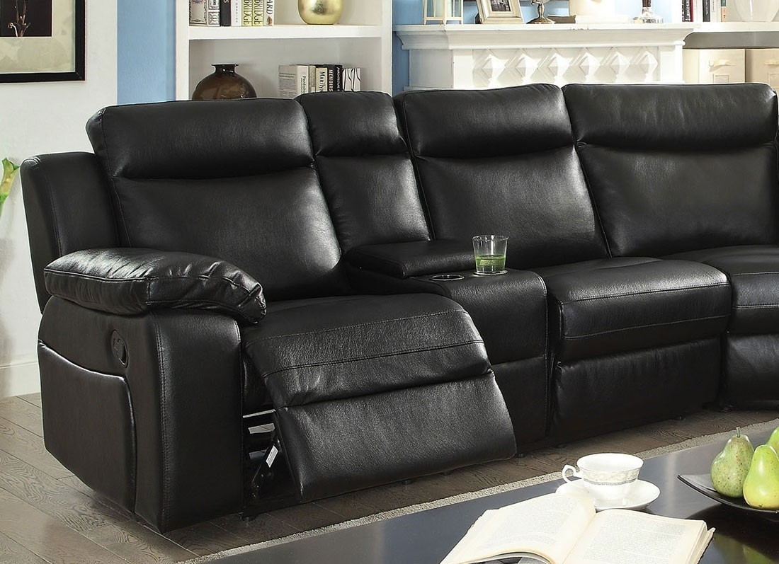 Waylon Recliner Sectional Black Leather intended for Waylon 3 Piece Power Reclining Sectionals (Image 27 of 30)