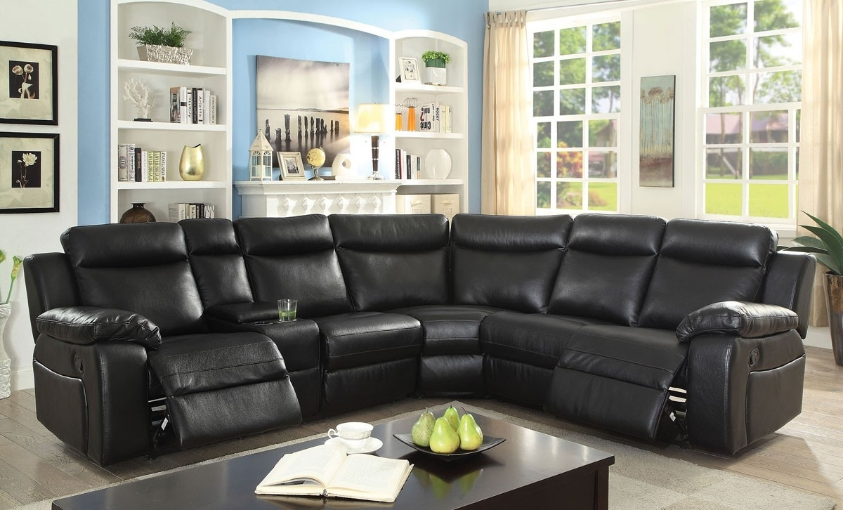 Waylon Recliner Sectional Black Leather intended for Waylon 3 Piece Power Reclining Sectionals (Image 26 of 30)