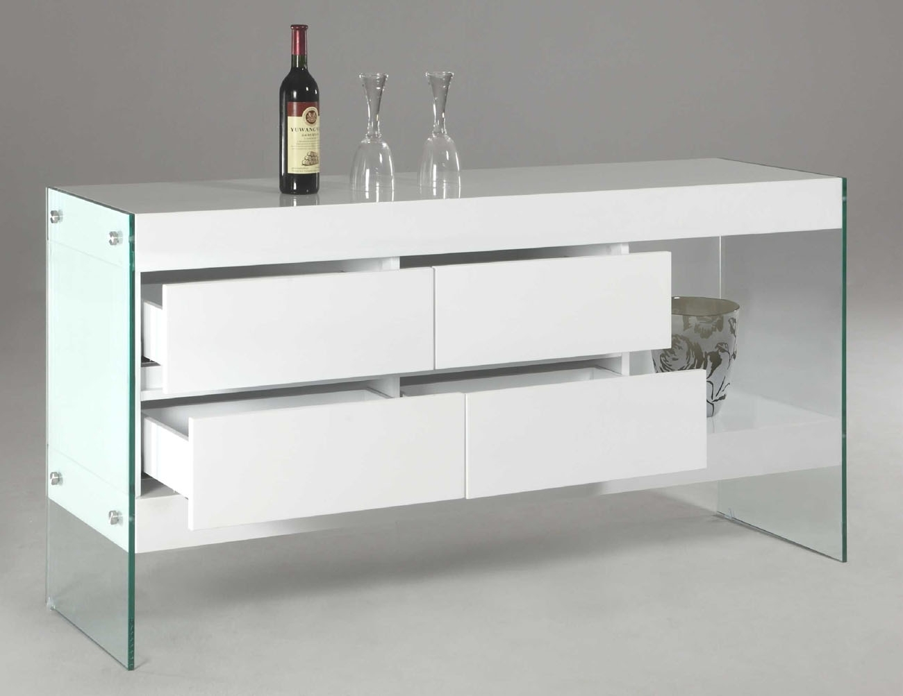 White Lacquer Wood With Glass Sides And Legs Contemporary Sideboard in Walnut Finish Contempo Sideboards (Image 30 of 30)