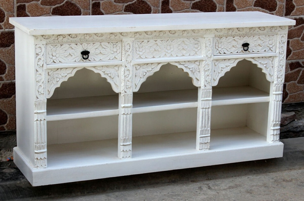 White Mehrab Sideboard/vanity | Furniture Australia | Shikara Design in White Wash Carved Door Jumbo Sideboards (Image 29 of 30)